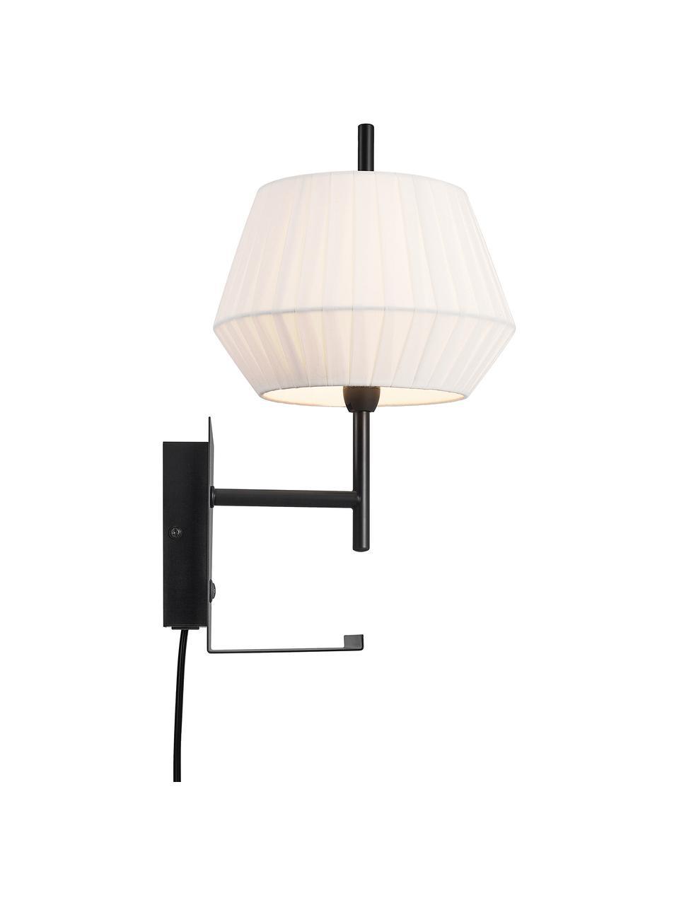 Klassische Wandleuchte Dicte mit Stecker, Lampenschirm: Stoff, Weiß, Schwarz, 21 x 38 cm