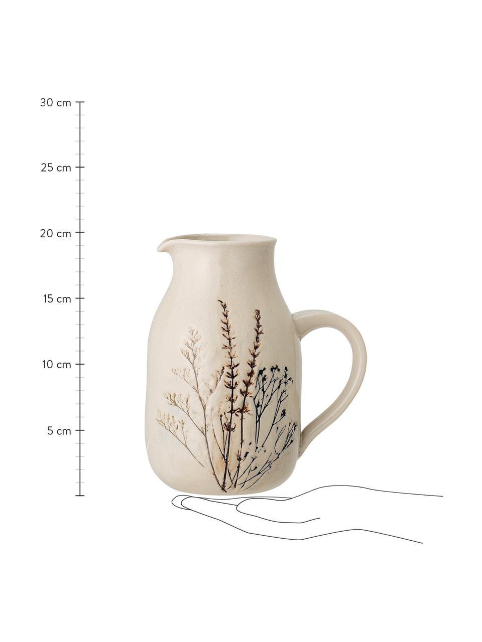 Handgemachter Krug Bea mit Gräser-Motiv,1.5 L, Steingut, Beige, Ø 12 x H 20 cm