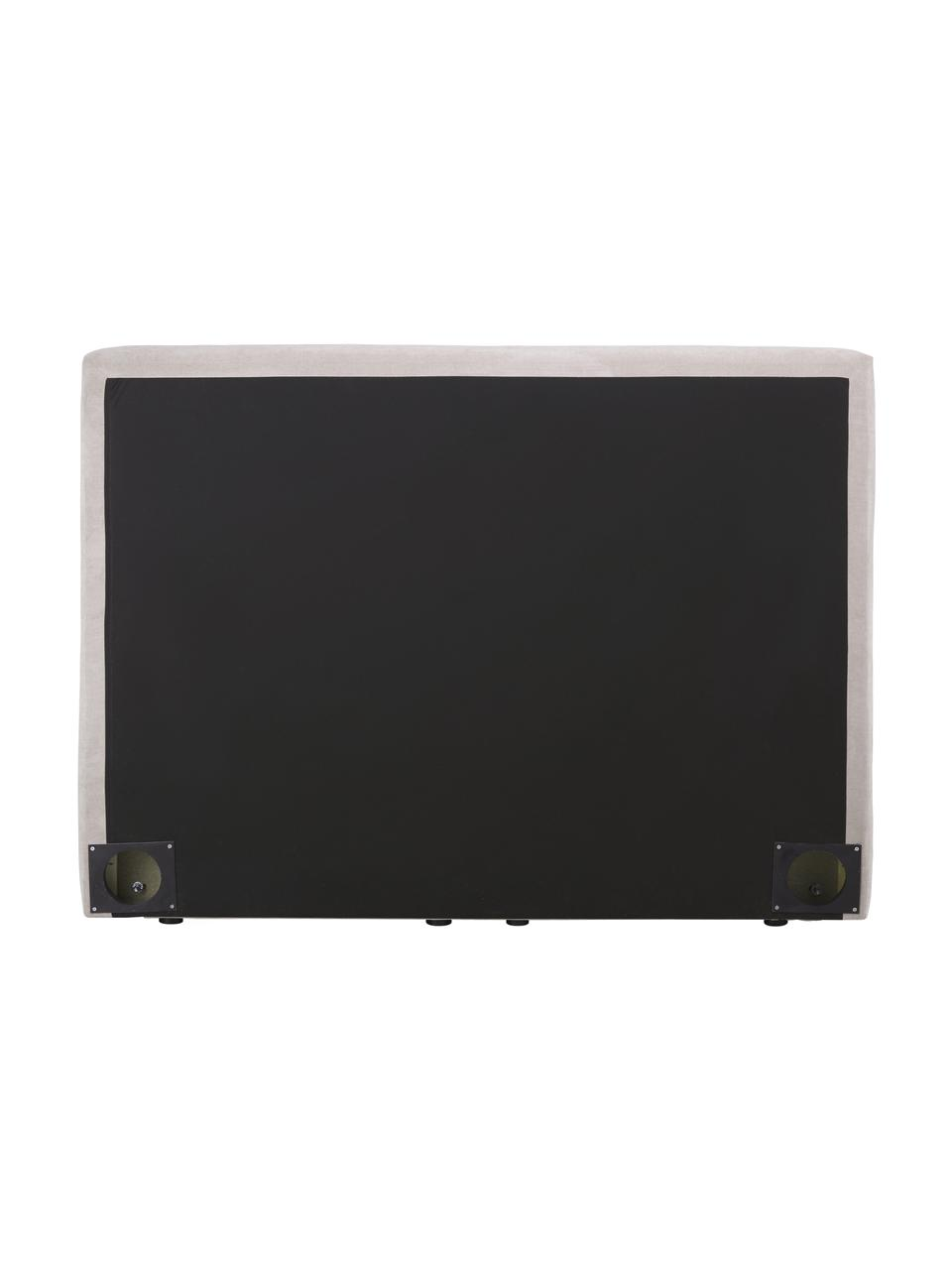 Letto boxspring in tessuto beige scuro con contenitore Oberon, Materasso: nucleo a 5 zone di molle , Piedini: plastica, Tessuto beige scuro, 200 x 200 cm