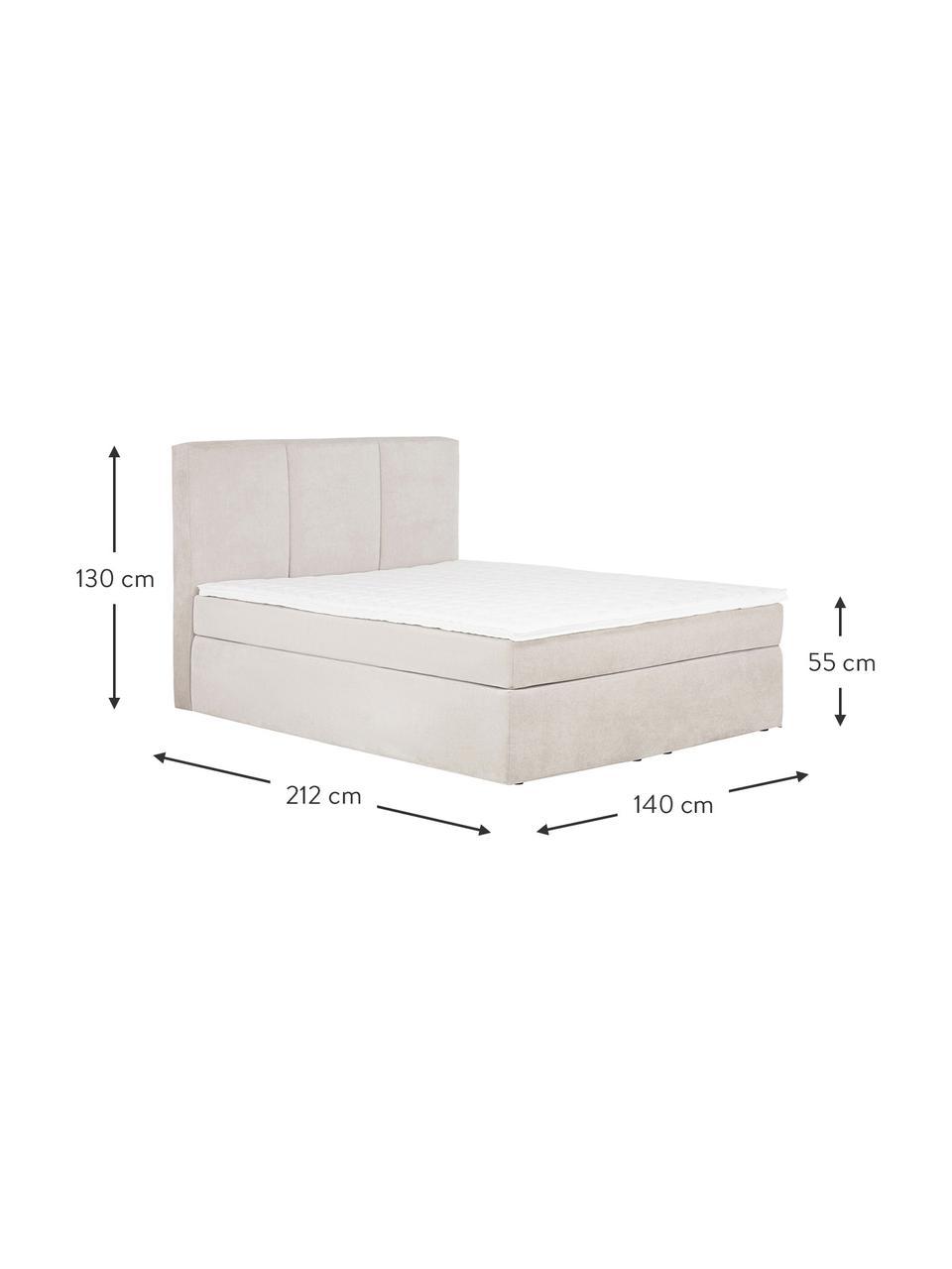 Łóżko kontynentalne Oberon, Nogi: tworzywo sztuczne, Beżowy, S 200 x D 200 cm