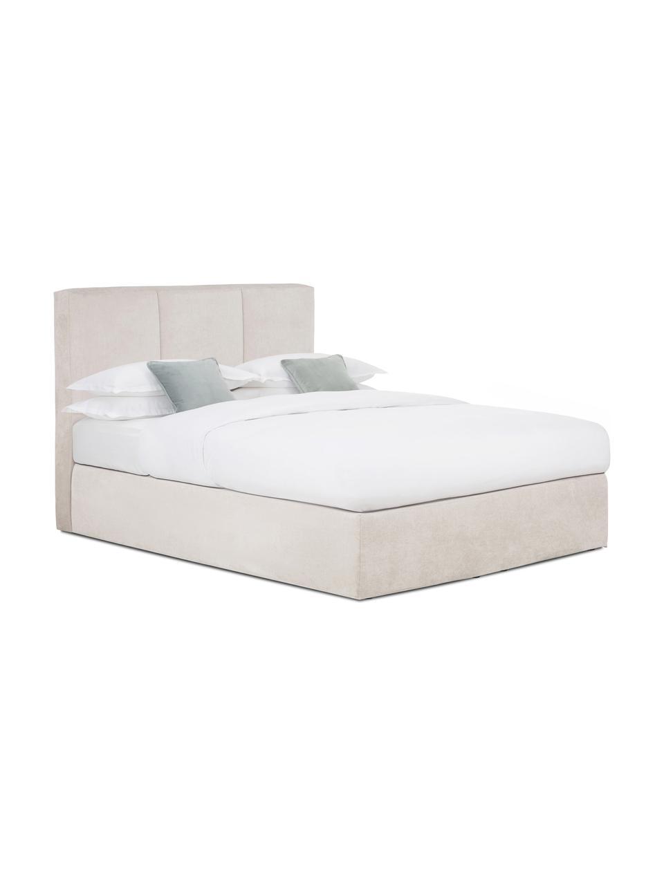 Boxspring bed Oberon in donkere beige, Matras: 5-zones pocketvering, Poten: kunststof, Stof donker beige, 200 x 200 cm
