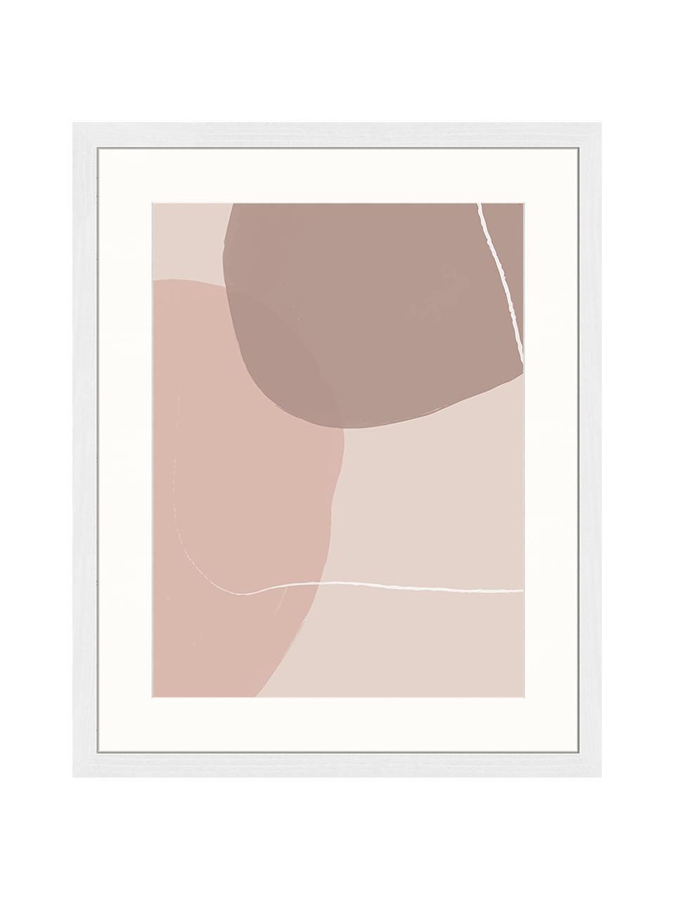 Gerahmter Digitaldruck Abstract Pink, Bild: Digitaldruck auf Papier, , Rahmen: Holz, lackiert, Front: Plexiglas, Mehrfarbig, 43 x 53 cm