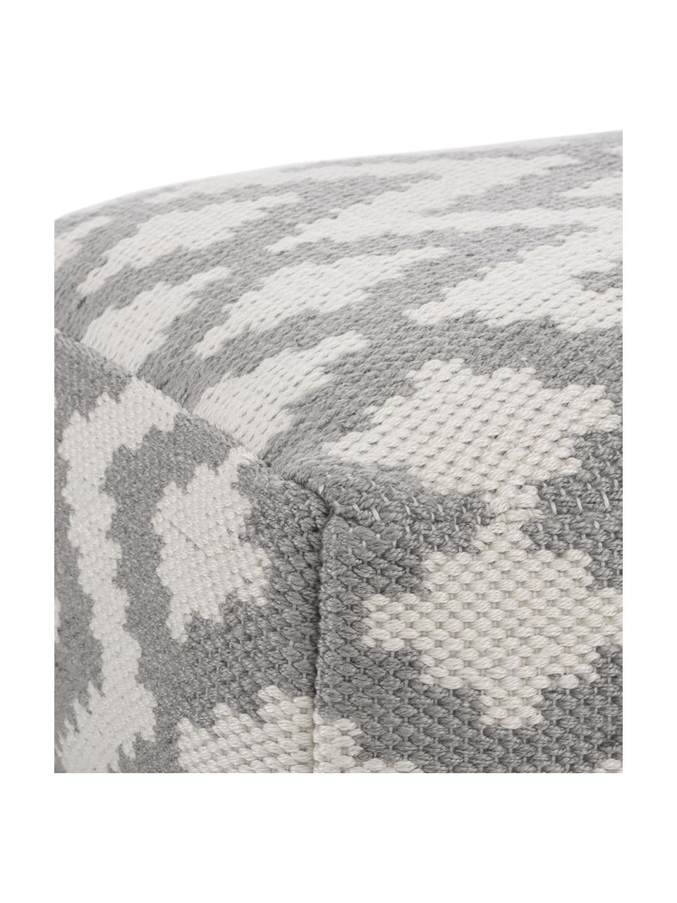 Cuscino da pavimento tessuto a mano da interno-esterno Napua, Rivestimento: 100% poliestere riciclato, Grigio, ecru, Larg. 63 x Alt. 30 cm