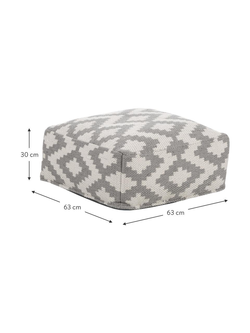 Ręcznie tkana poduszka podłogowa wewnętrzna/zewnętrzna Napua, Szary, ecru, S 63 x W 30 cm