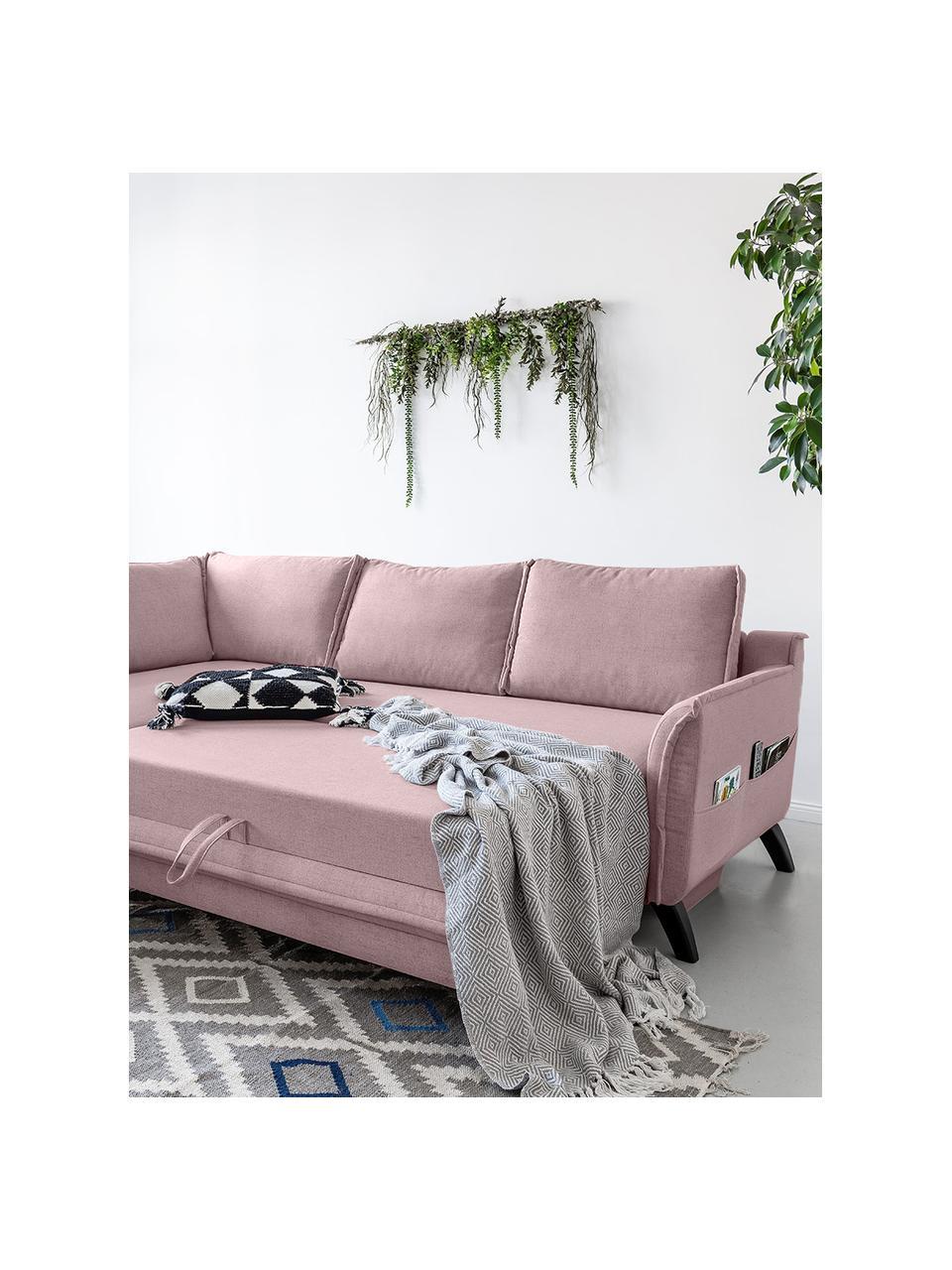 Sofa narożna z funkcją spania Charming Charlie, Tapicerka: 100% poliester, w dotyku , Stelaż: drewno naturalne, płyta w, Brudny różowy, S 230 x G 200 cm