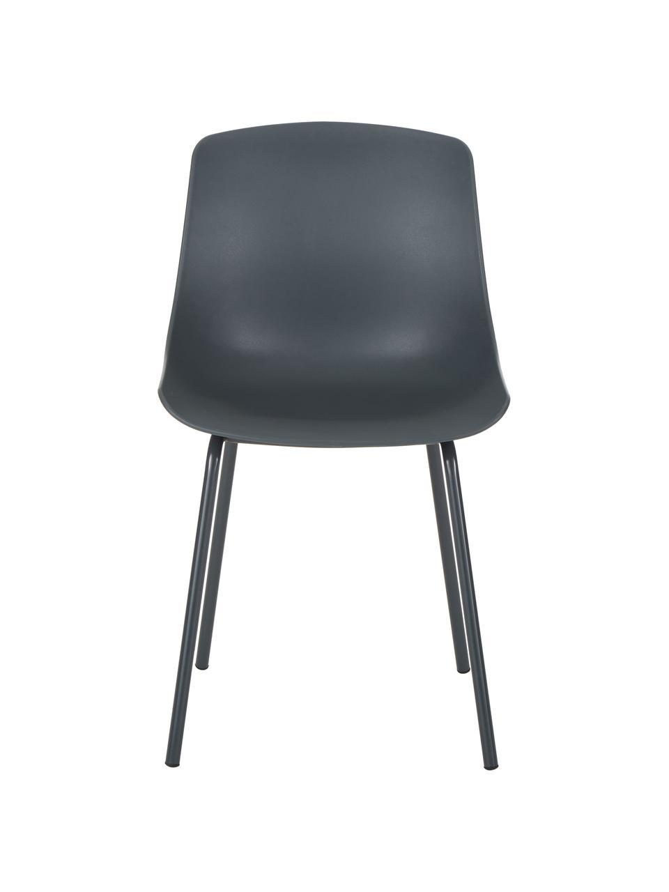 Sedia color grigio scuro con gambe in metallo Dave 2 pz, Seduta: materiale sintetico, Gambe: metallo verniciato a polv, Grigio scuro, Larg. 46 x Prof. 53 cm
