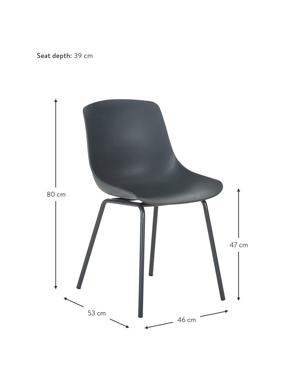 Kunststoffstühle Dave mit Metallbeinen in Dunkelgrau, 2 Stück, Sitzfläche: Kunststoff, Beine: Metall, pulverbeschichtet, Dunkelgrau, B 46 x T 53 cm