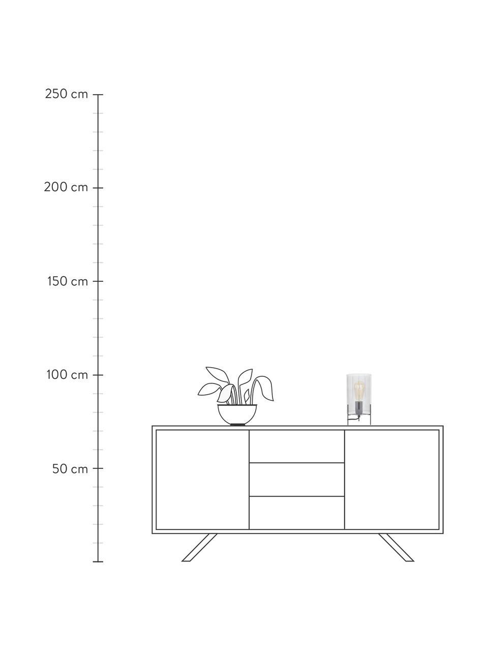 Kleine Tischlampe Laurel aus farbigem Glas, Lampenschirm: Glas, Lampenfuß: Metall, pulverbeschichtet, Lampenschirm: Grau, transparentLampenfuß: Schwarz, mattKabel: Transparent, Ø 14 x H 28 cm
