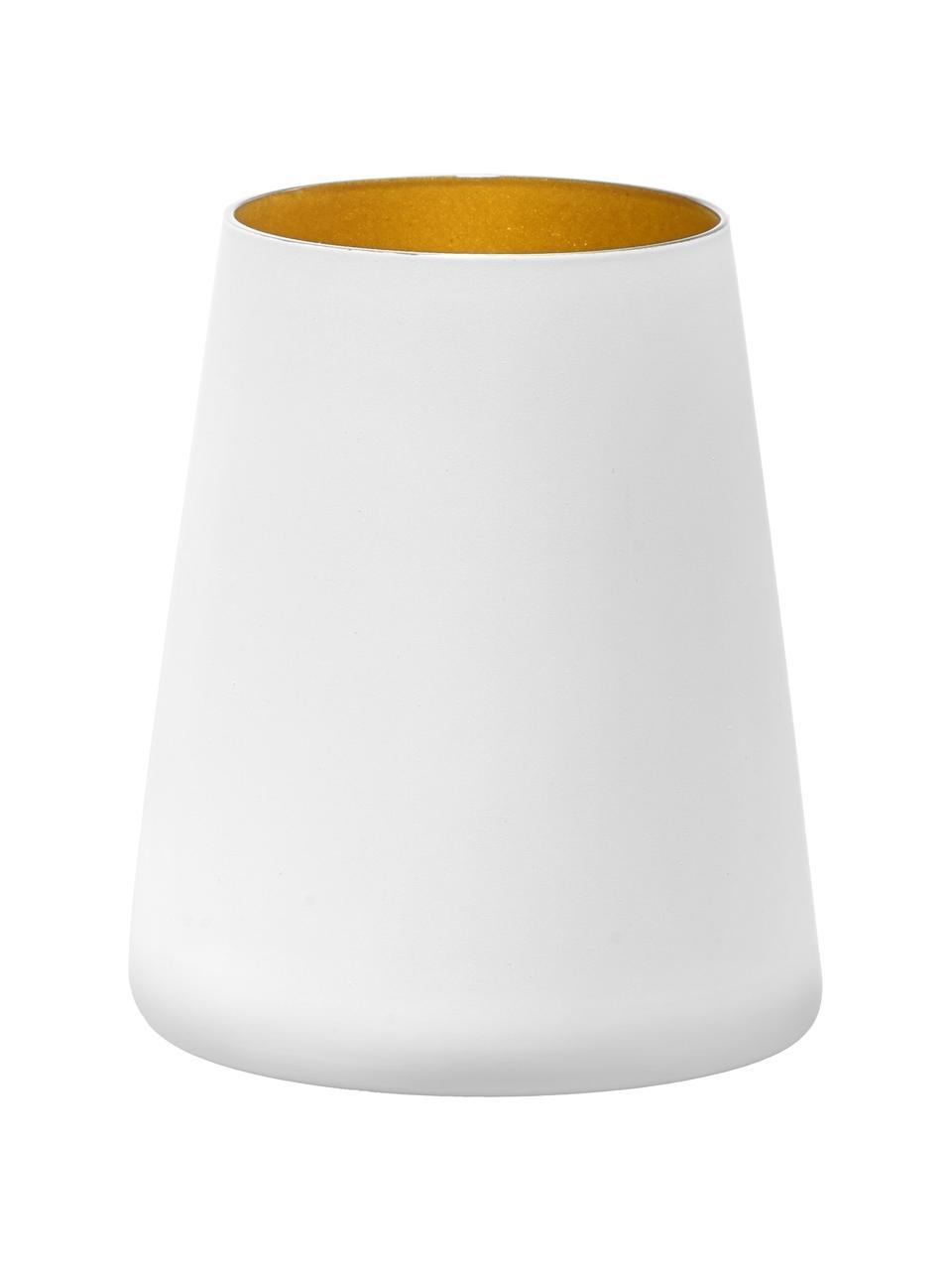 Kegelförmige Kristall-Cocktailgläser Power in Weiß/Gold, 6 Stück, Kristallglas, beschichtet, Weiß, Goldfarben, Ø 9 x H 10 cm