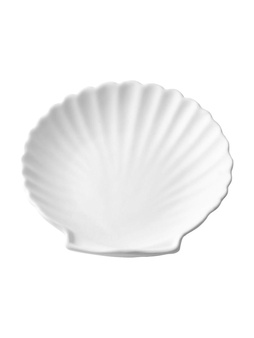 Deko-Tablett Athena, Steingut, Weiß, matt, 14 x 2 cm