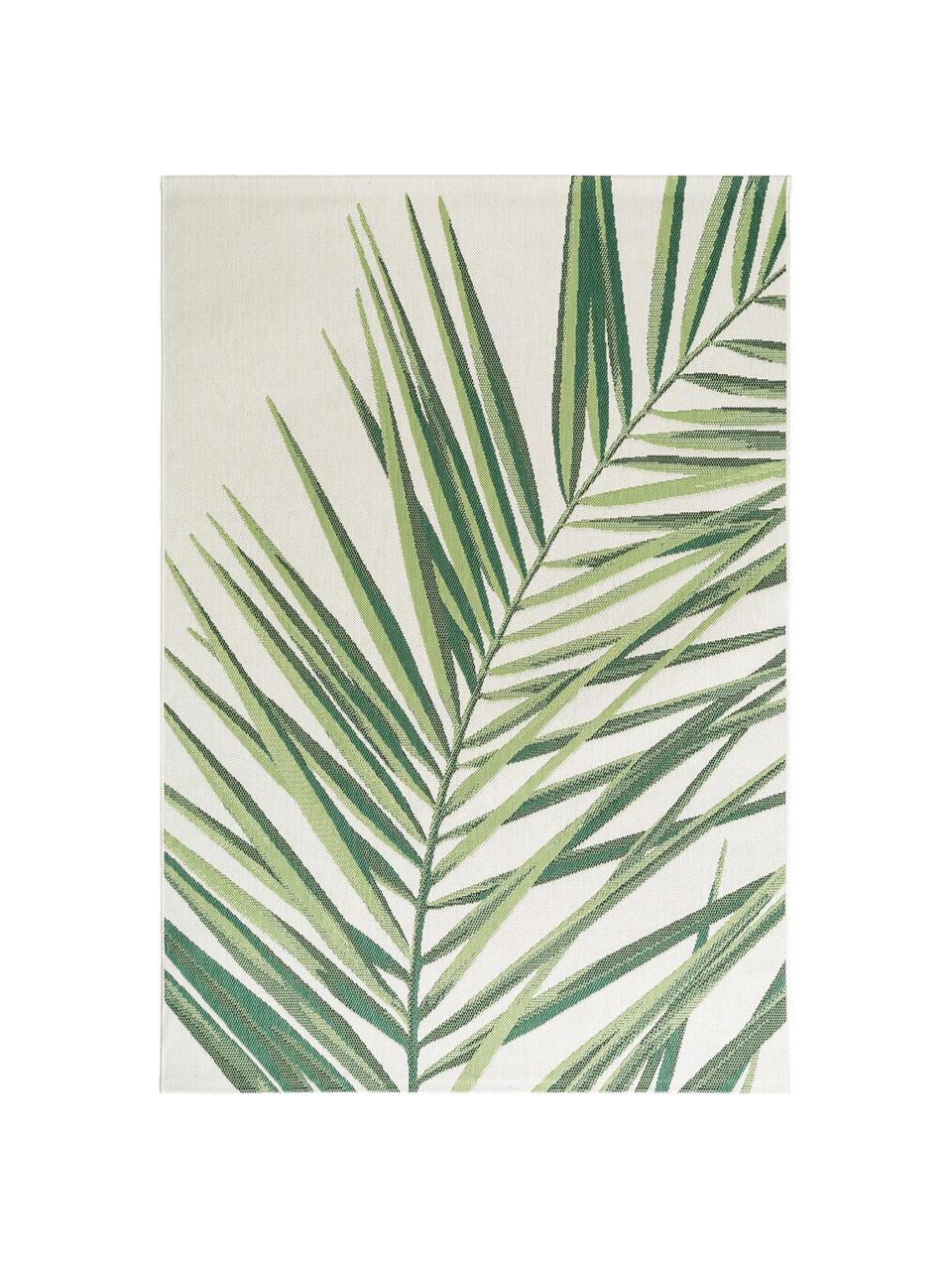 Tappeto da interno-esterno con motivo tropicale Capri Palm, 100% polipropilene, Verde, beige, Larg. 80 x Lung. 150 cm (taglia XS)
