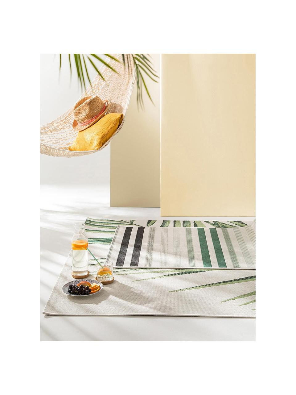 In- & Outdoor-Teppich Capri Palm mit Palmenblattmotiv, 100% Polypropylen, Grün, Beige, B 80 x L 150 cm (Größe XS)