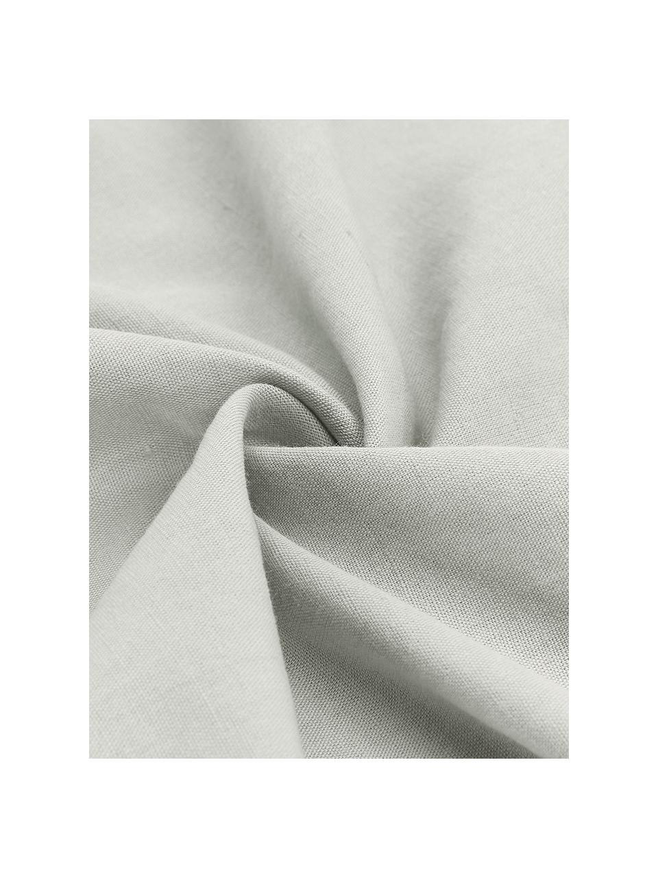 Gewaschene Leinen-Bettwäsche Nature in Hellgrau, Halbleinen (52% Leinen, 48% Baumwolle)  Fadendichte 108 TC, Standard Qualität  Halbleinen hat von Natur aus einen kernigen Griff und einen natürlichen Knitterlook, der durch den Stonewash-Effekt verstärkt wird. Es absorbiert bis zu 35% Luftfeuchtigkeit, trocknet sehr schnell und wirkt in Sommernächten angenehm kühlend. Die hohe Reißfestigkeit macht Halbleinen scheuerfest und strapazierfähig., Hellgrau, 135 x 200 cm + 1 Kissen 80 x 80 cm