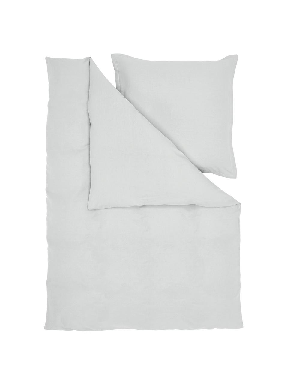 Pościel z lnu z efektem sprania Nature, Jasny szary, 135 x 200 cm + 1 poduszka 80 x 80 cm