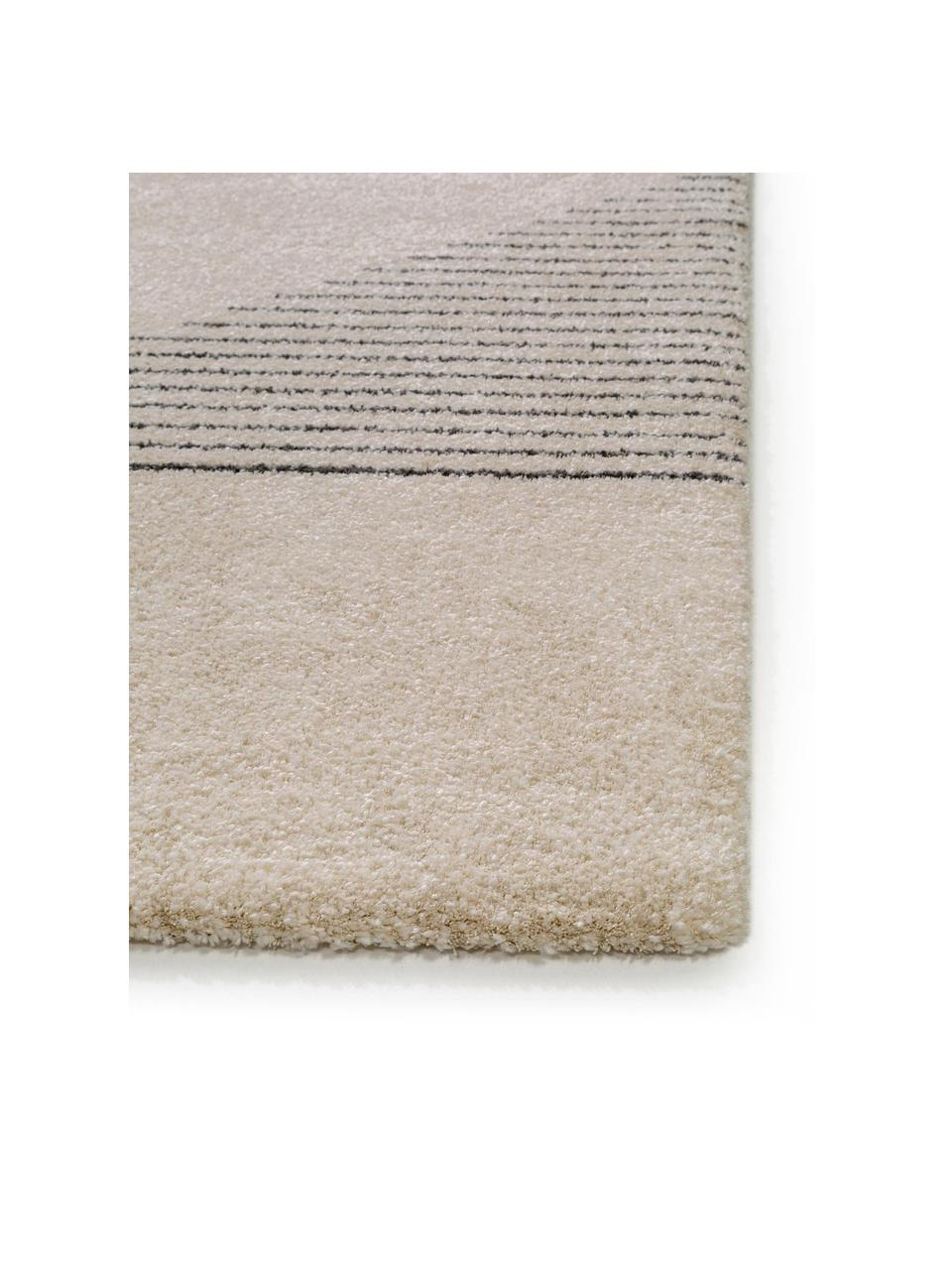 Teppich Narvik mit abstraktem Muster, 60% Polyester, 40% Polypropylen, Creme, Schwarz, B 200 x L 290 cm (Größe L)