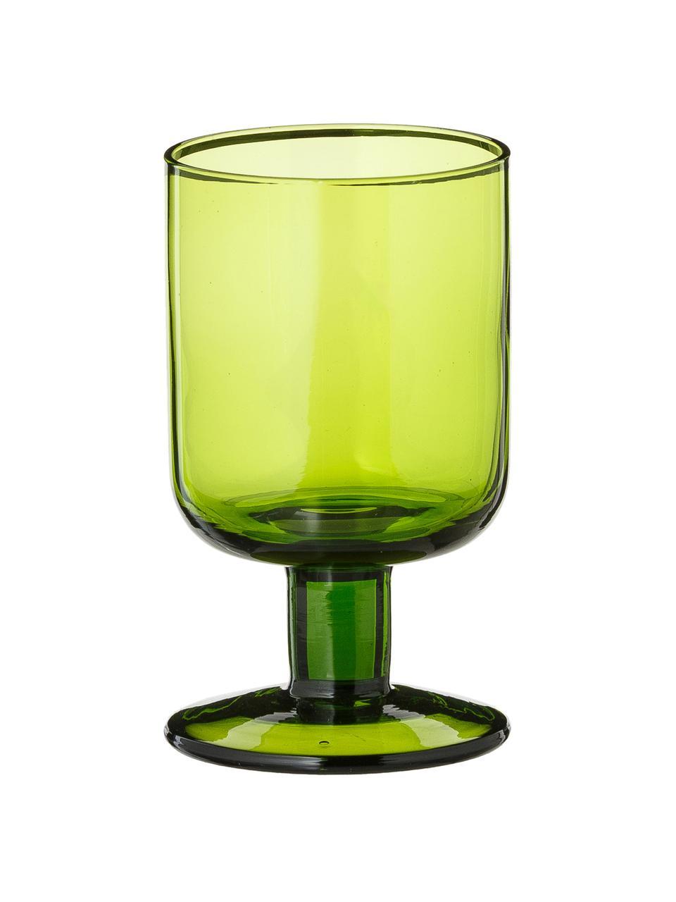Mundgeblasene Weingläser Bloom in Grün, 6 Stück , Glas, mundgeblasen, Grün, Ø 7 x H 12 cm