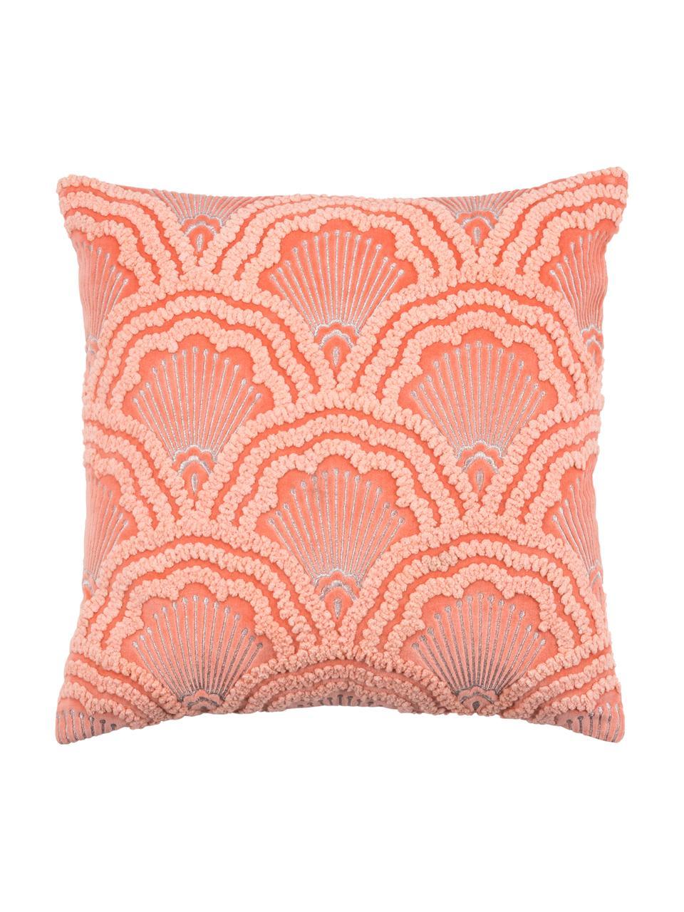 Haftowana poszewka na poduszkę z aksamitu Chelsey, 100% aksamit bawełniany, Koralowy, S 45 x D 45 cm
