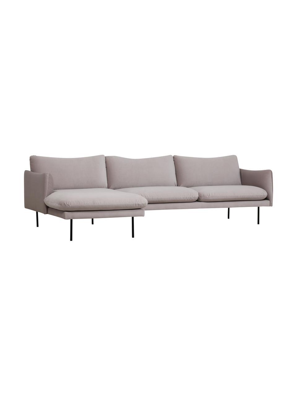 Canapé d'angle en velours taupe avec pieds en métal Moby, Velours beige
