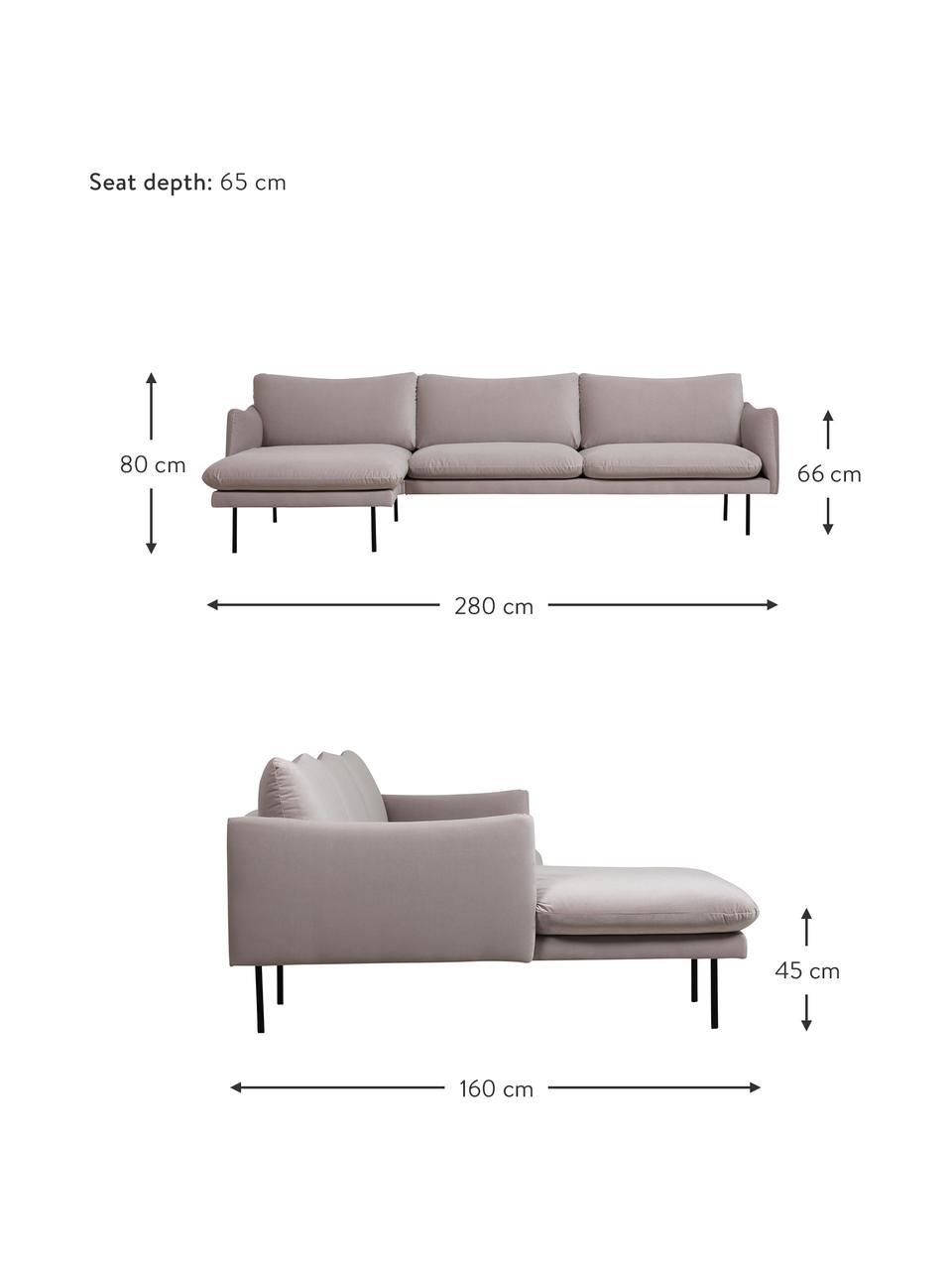 Sofa narożna z aksamitu z metalowymi nogami Moby, Tapicerka: aksamit (wysokiej jakości, Nogi: metal malowany proszkowo, Aksamitny taupe, S 280 x G 160 cm