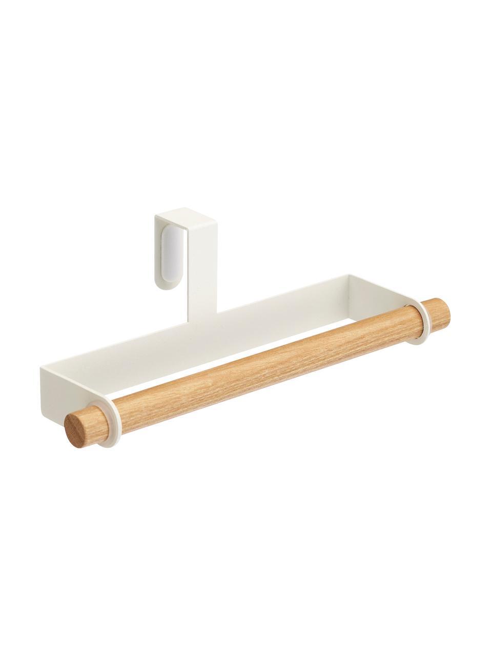 Handtuchhalter Tosca, Halter: Stahl, beschichtet, Stange: Holz, Weiß, Holz, 19 x 6 cm