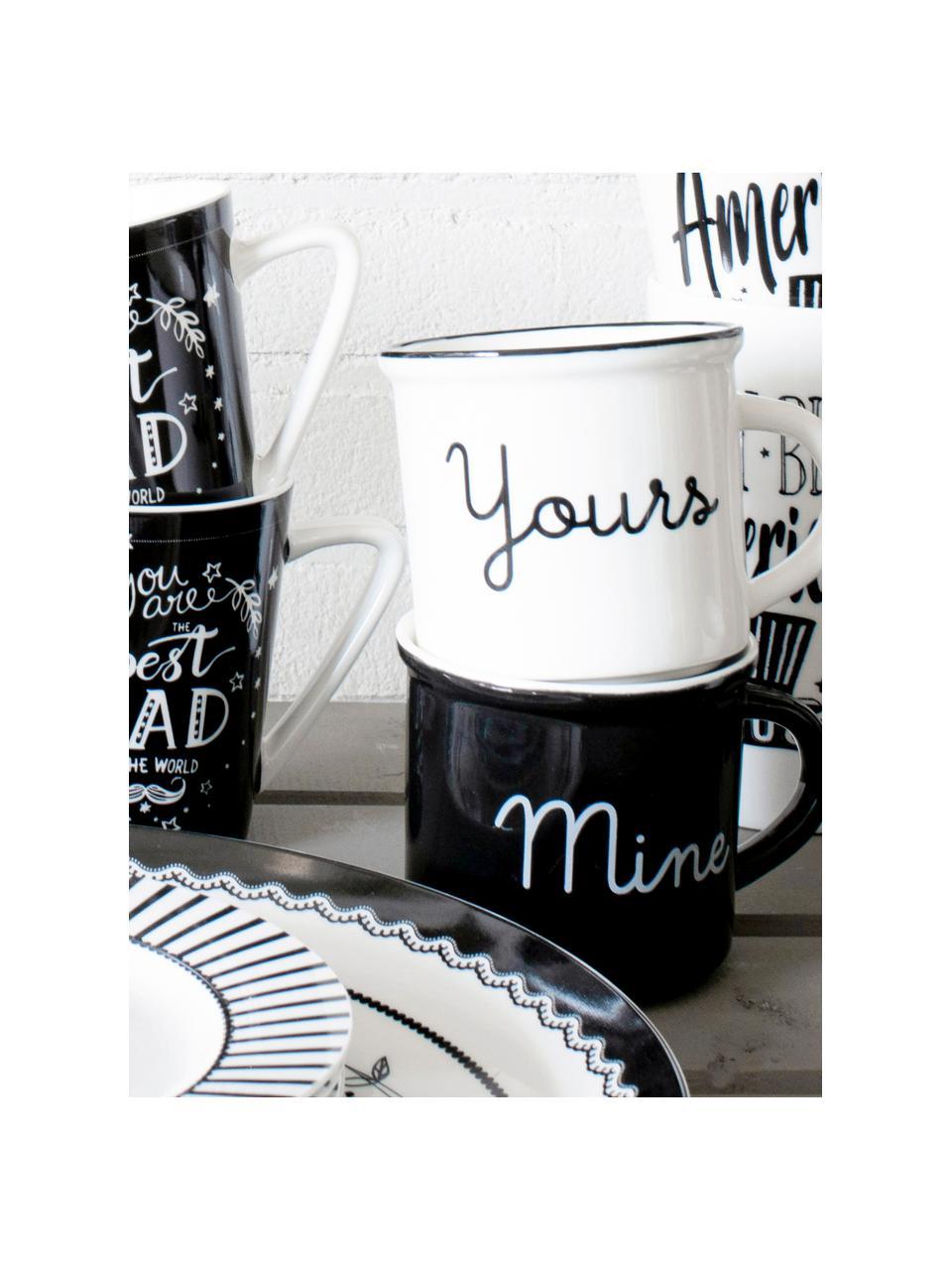 Teetassen Yours & Mine mit Aufschrift, 2er-Set, Porzellan, Weiß, Schwarz, Ø 9 x H 8 cm