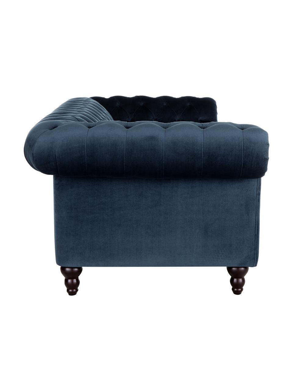 Divano chesterfield 3 posti in velluto blu scuro Gladis, Rivestimento: 100% poliestere, Piedini: legno di quercia vernicia, Struttura: base in legno, Blu scuro, Larg. 230 x Alt. 74 cm