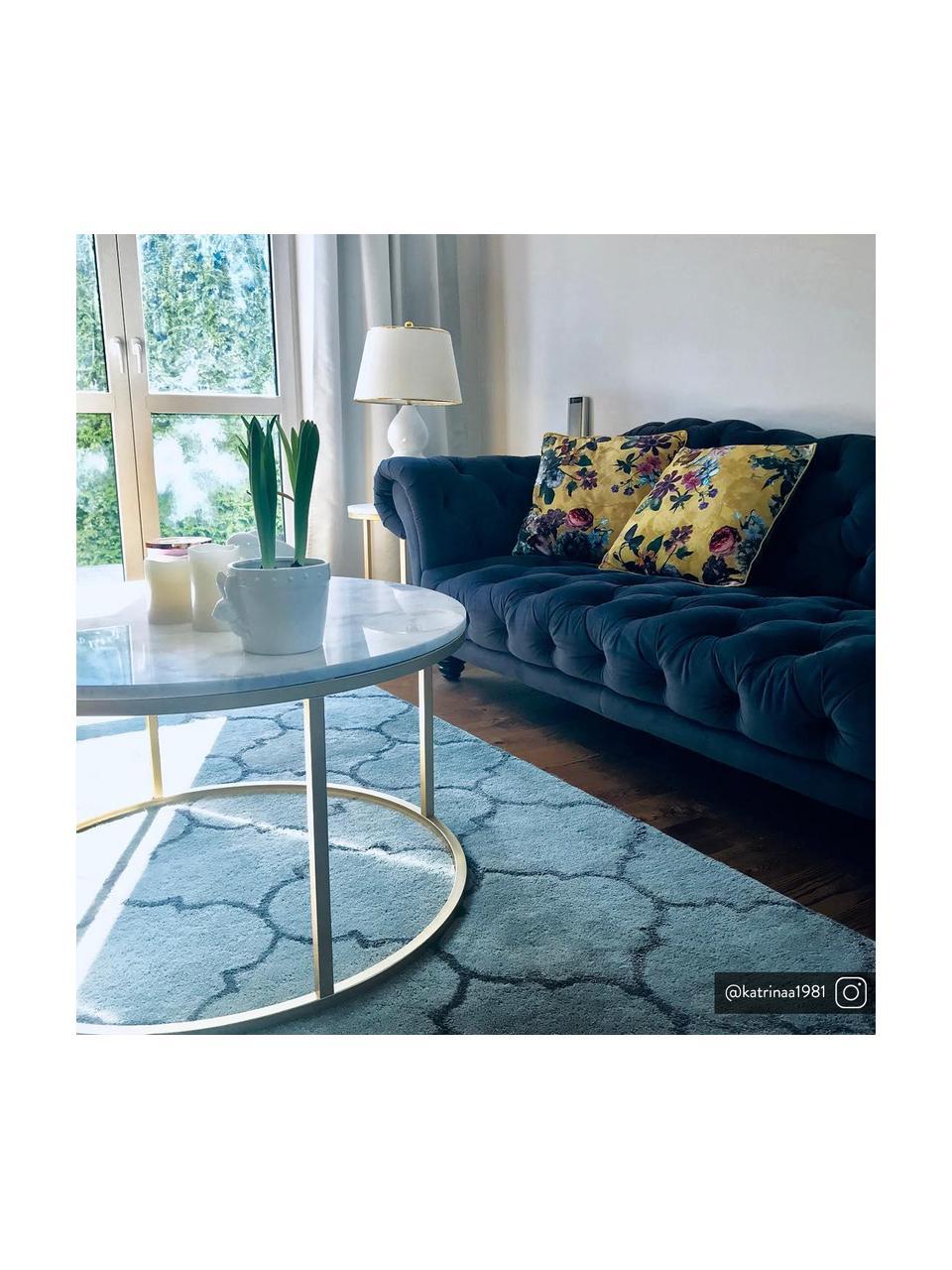 Fluwelen chesterfield bank Gladis (3-zits) in donkerblauw, Bekleding: 100% polyester, Poten: gelakt eikenhout, Frame: houten basisframe, Donkerblauw, 230 x 74 cm