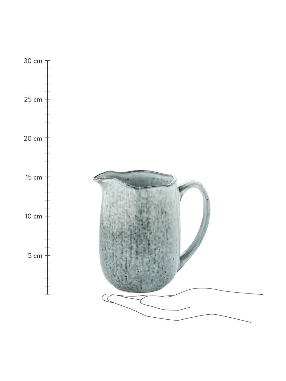 Handgemachter Milchkrug Nordic Sea aus Steingut, 1 L, Steingut, Grau- und Blautöne, 17 x 16 cm
