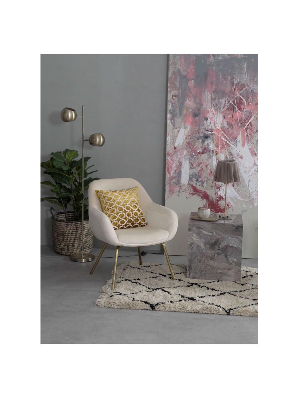 Fluwelen fauteuil Jana in crèmewit, Bekleding: fluweel (polyester), Poten: gepoedercoat metaal, Crèmewit, B 72 x D 68 cm