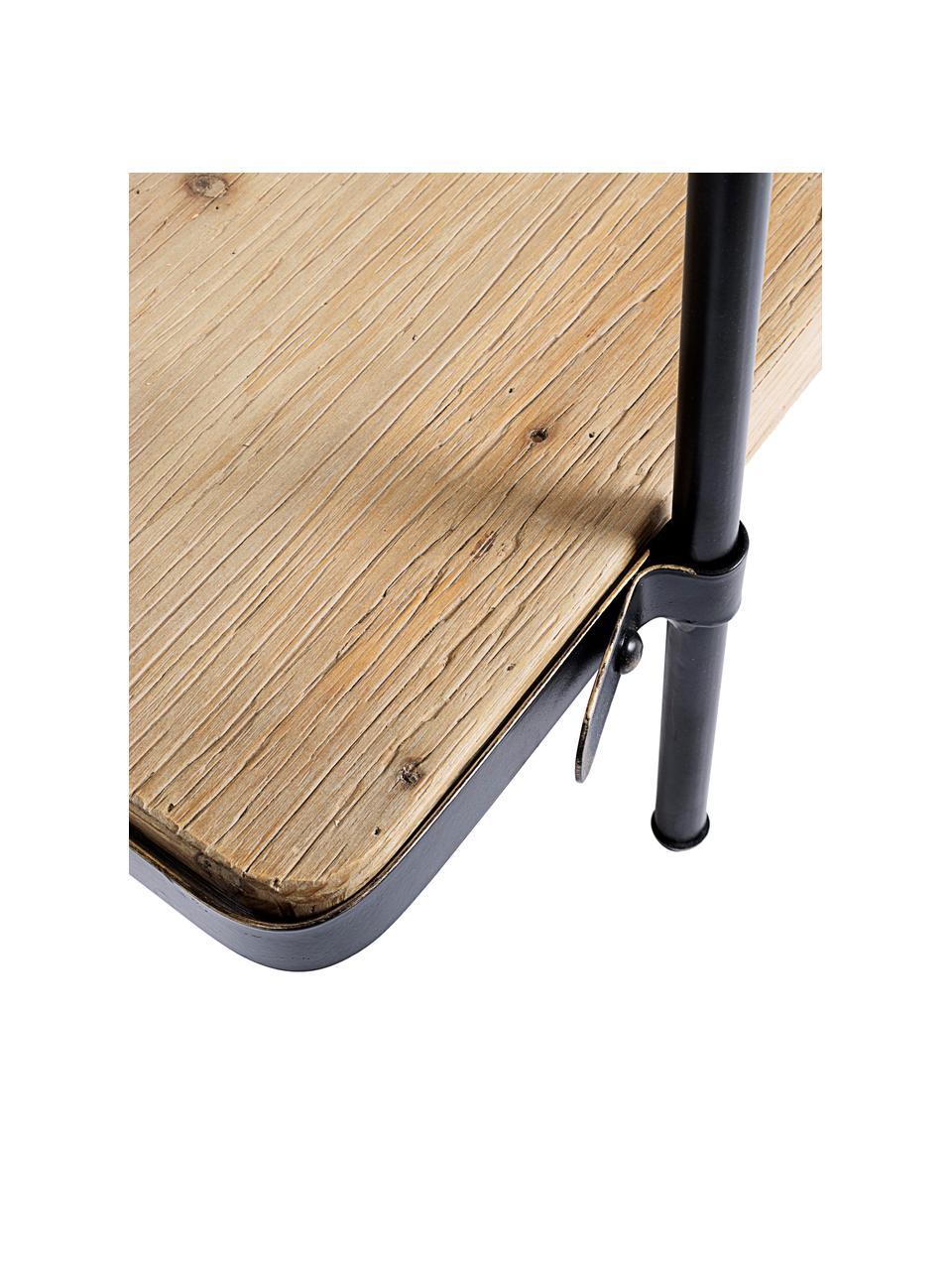 Standregal Jerrod aus Holz und Metall, Gestell: Metall, epoxidiert und pu, Einlegeböden: Mitteldichte Holzfaserpla, Schwarz, Braun, 122 x 180 cm