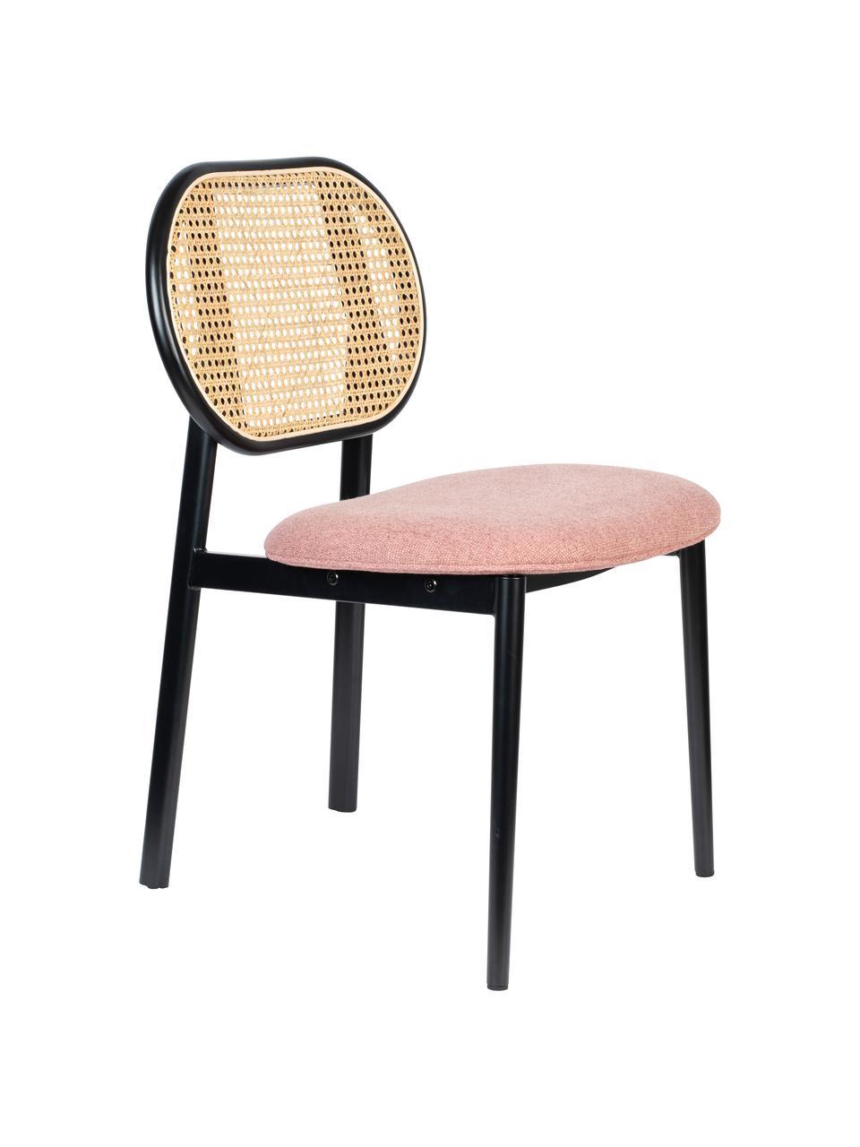 Chaise capitonnée rétro avec cannage Spike, Rose, noir, beige