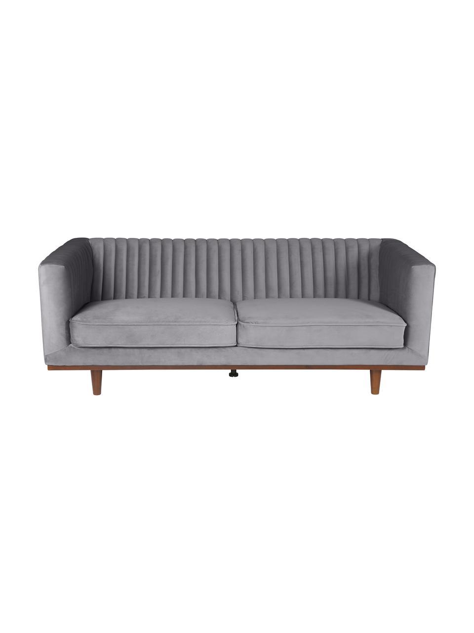 Samt-Sofa Dante (3-Sitzer) in Dunkelgrau mit Holz-Füßen, Bezug: Polyestersamt 50.000 Sche, Füße: Gummibaumholz, lackiert, Samt Dunkelgrau, B 210 x T 87 cm