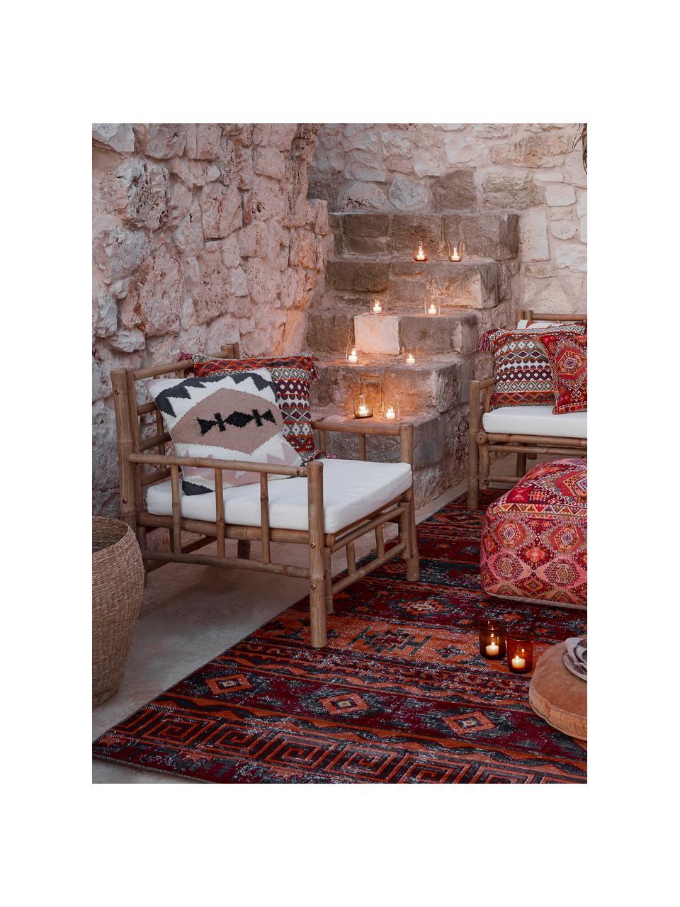 Poszewka na poduszkę z wełny w stylu etno Gayle, 90% wełna, 10% bawełna, Beżowy, czarny, kremowy, blady różowy, S 45 x D 45 cm