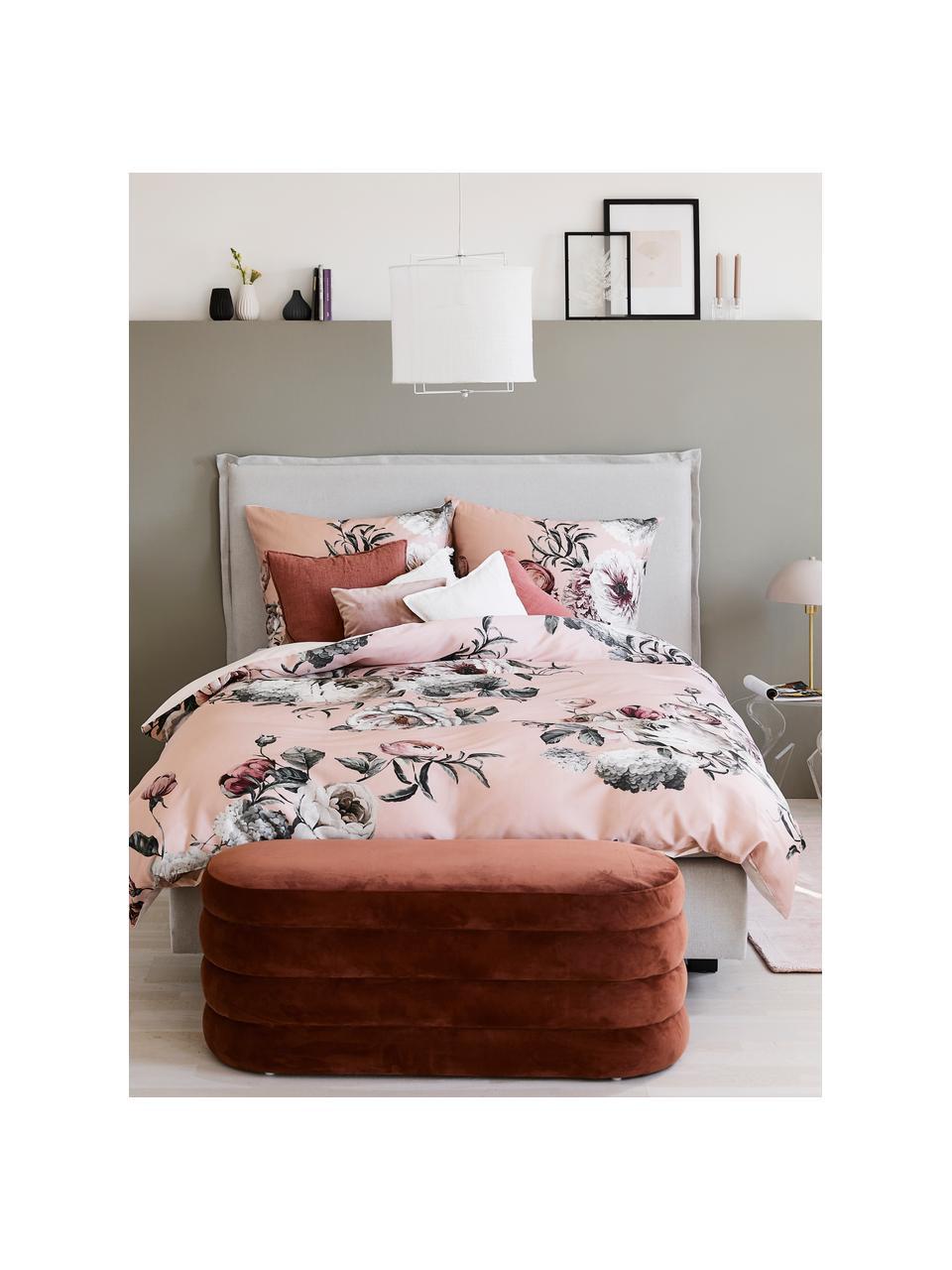 Fluwelen bank Alto, Bekleding: fluweel (polyester), Frame: massief grenenhout, multi, Fluweel bruin, 110 x 47 cm