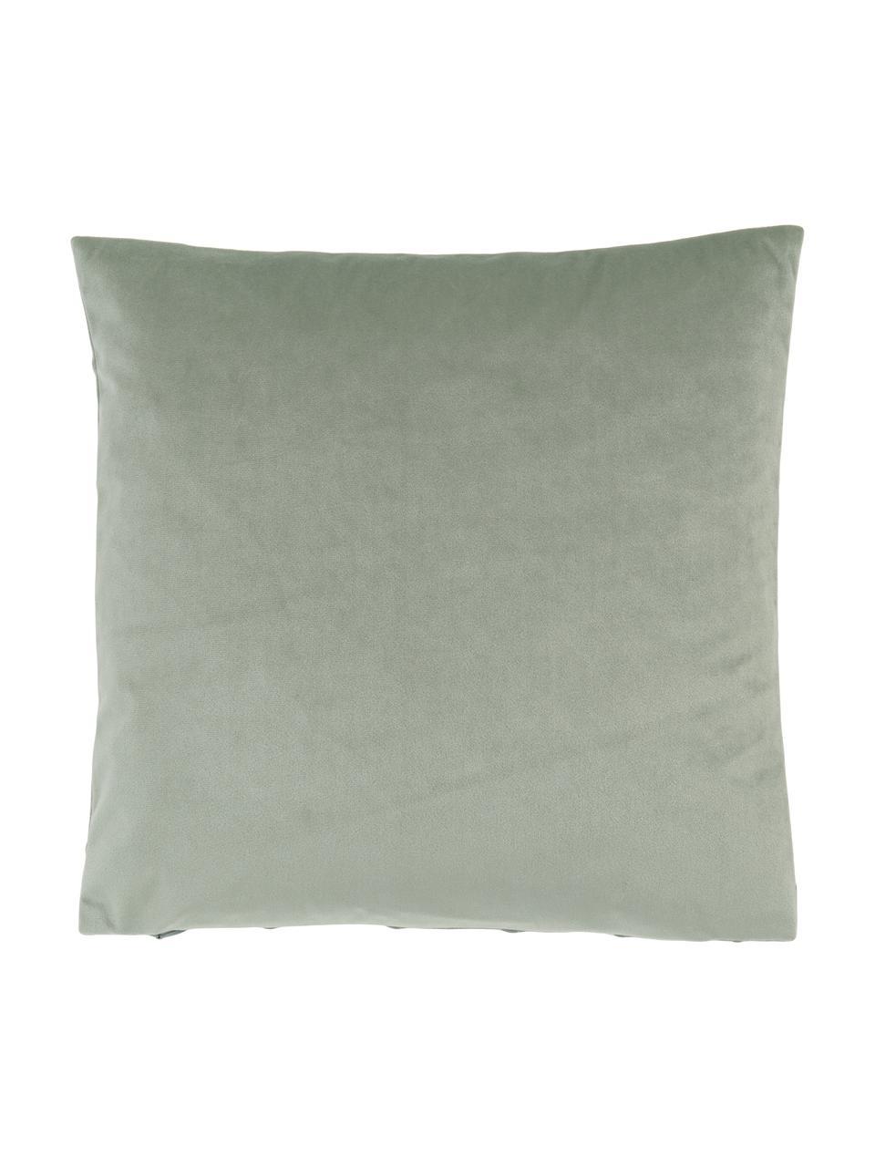 Samt-Kissenhülle Leyla in Salbeigrün mit Struktumuster, Samt (100% Polyester), Grün, 40 x 40 cm
