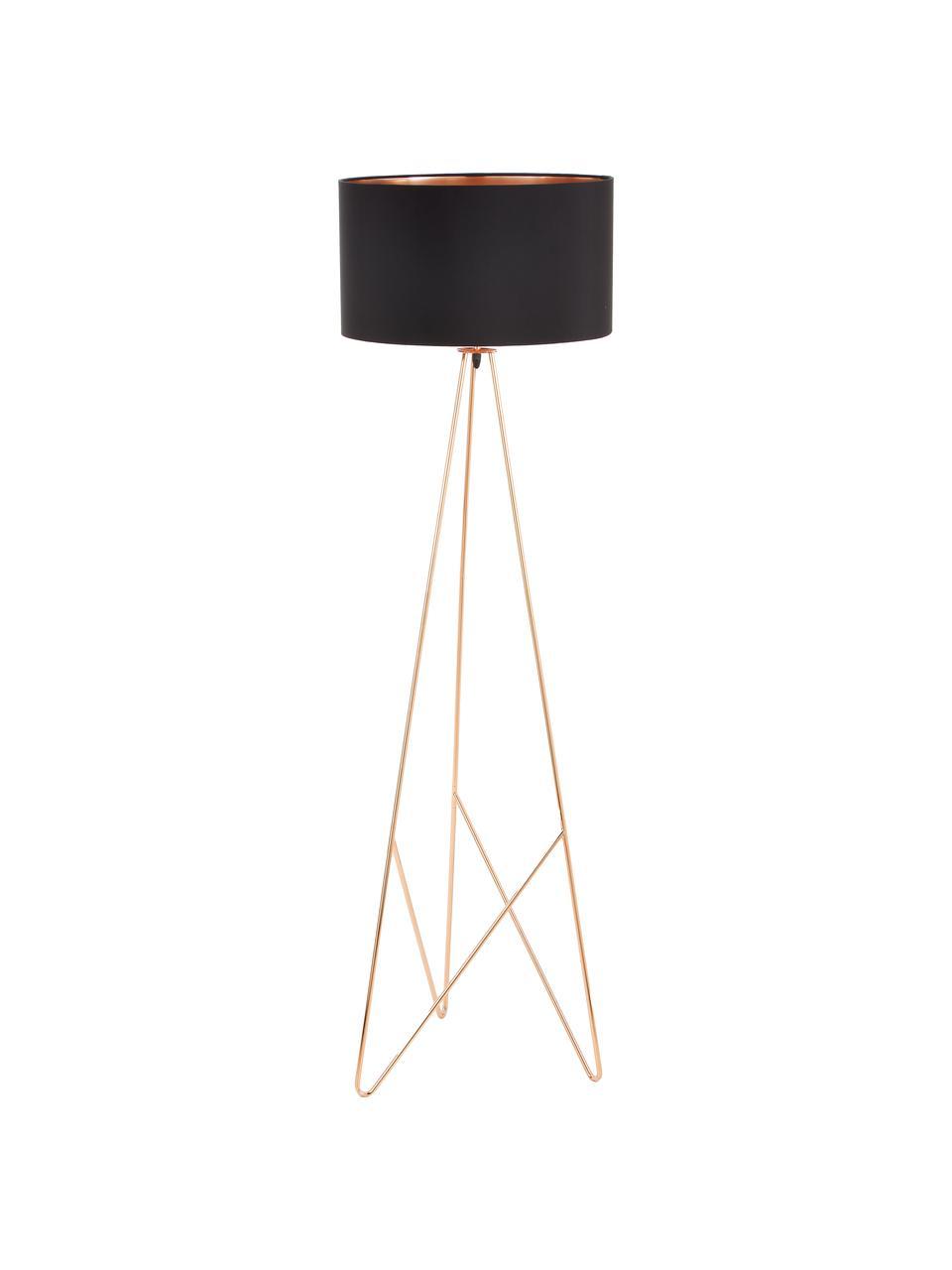 Lampada da terra in rame Camporale, Base della lampada: acciaio verniciato, Nero, colori rame, Ø 45 x Alt. 154 cm