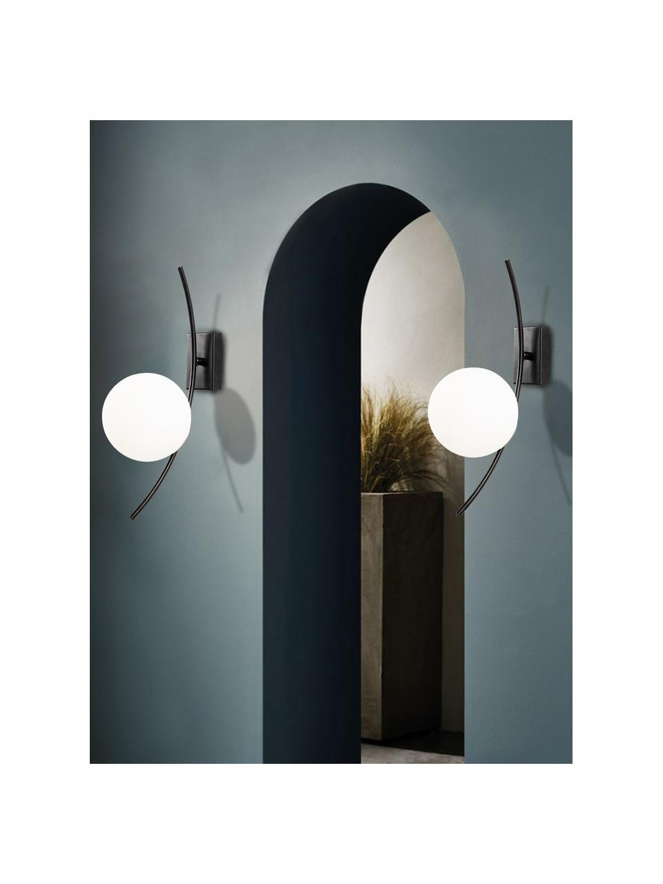 Applique in vetro opale Hilal, Paralume: vetro opale, Nero, bianco opalino, Larg. 15 x Alt. 44 cm