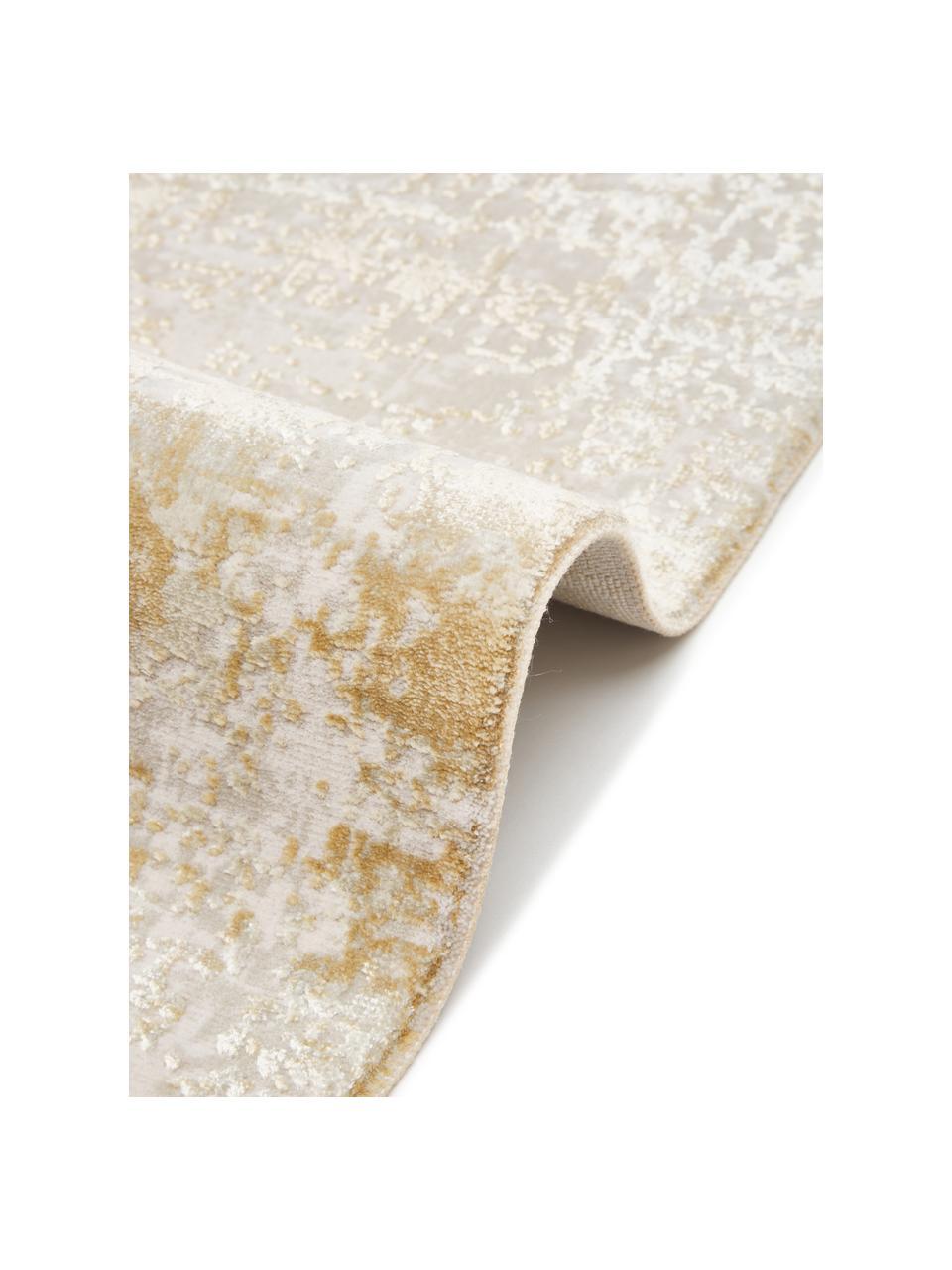 Passatoia vintage con frange effetto lucido Cordoba, Retro: 100% cotone, Tonalità beige, Larg. 80 x Lung. 300 cm