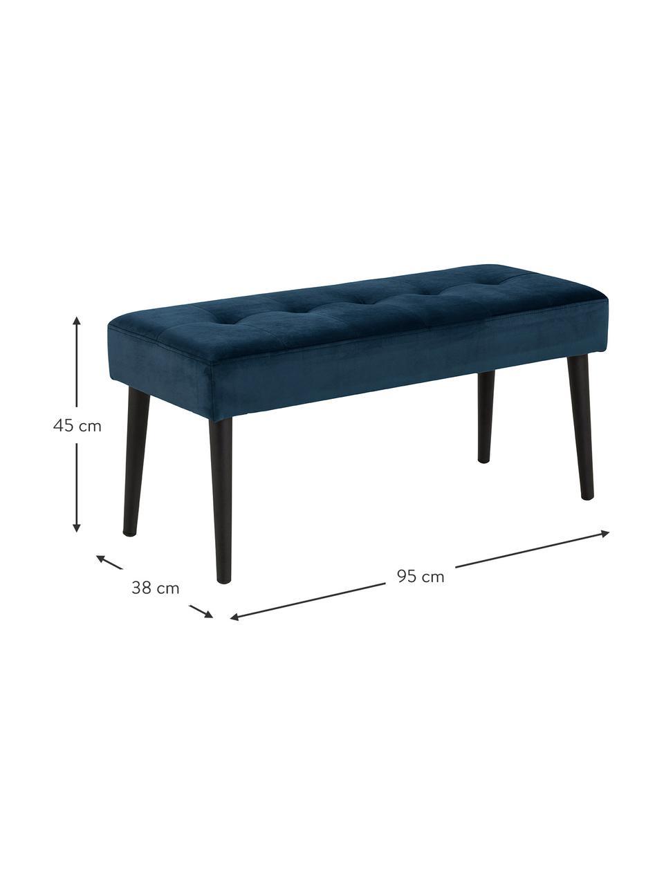 Panca in velluto blu scuro Glory, Rivestimento: velluto di poliestere 25., Struttura: metallo verniciato a polv, Velluto blu, Larg. 95 x Alt. 45 cm