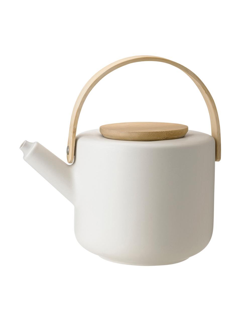 Steingut Teekanne Theo in Weiß matt, 1.25 L, Kanne: Steingut, Gebrochenes Weiß, Bambus, 1.25 L