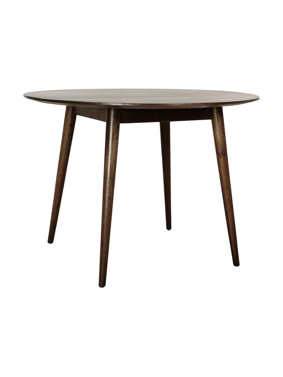 Okrągły stół do jadalni z drewna mangowego Oscar, Lite drewno mangowe, lakierowane, Ciemnybrązowy, Ø 106 cm x W 76 cm