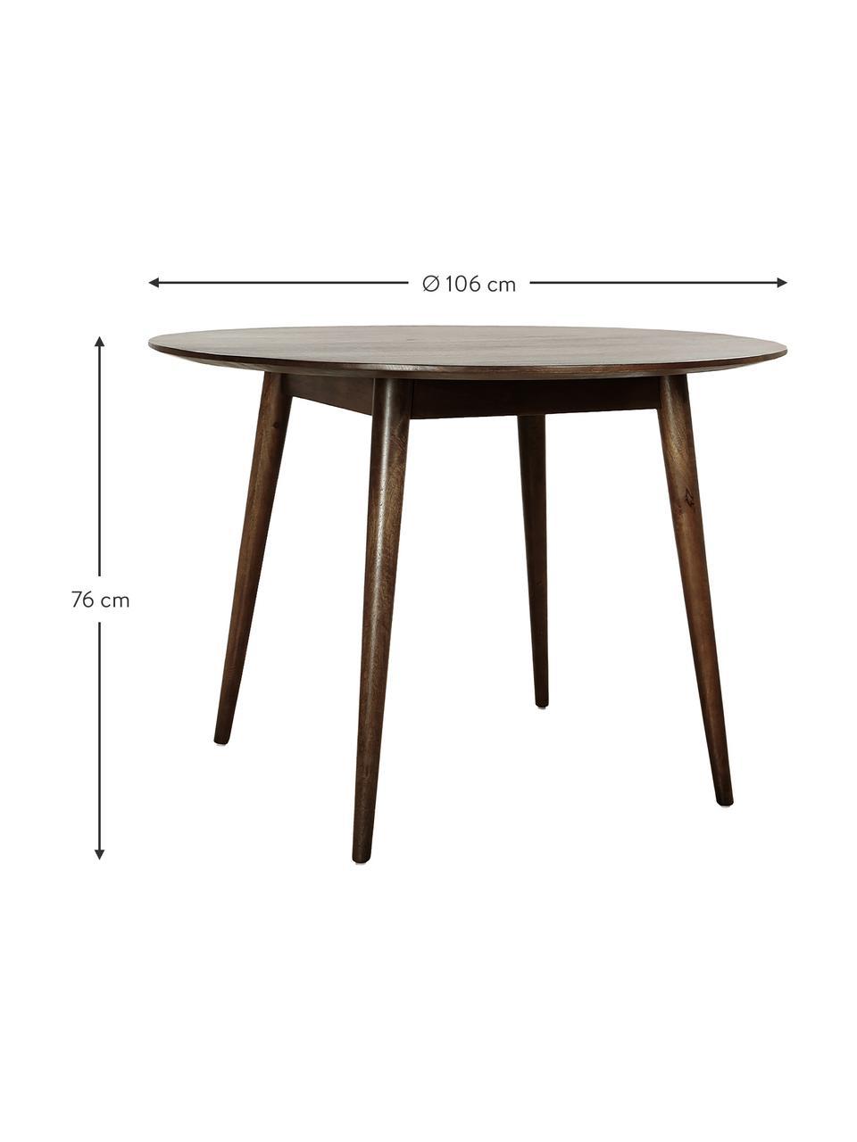 Tavolo rotondo in legno massello Oscar, Legno di mango massello, verniciato, Marrone scuro, Ø 106 x Alt. 76 cm