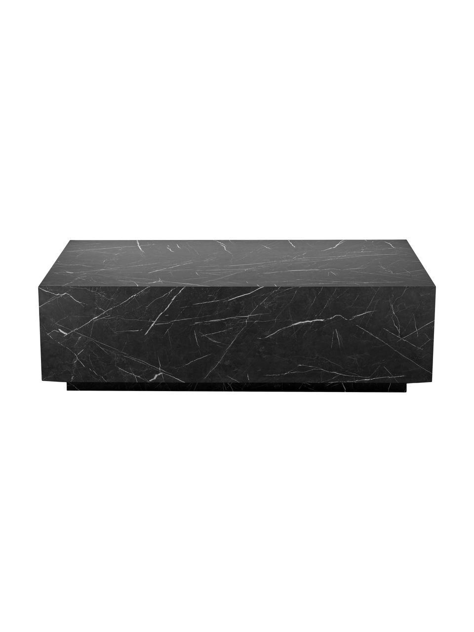 Tavolino da salotto effetto marmo Lesley, Pannello di fibra a media densità (MDF) rivestito con foglio di melamina, Nero marmorizzato lucido, Larg. 120 x Alt. 35 cm