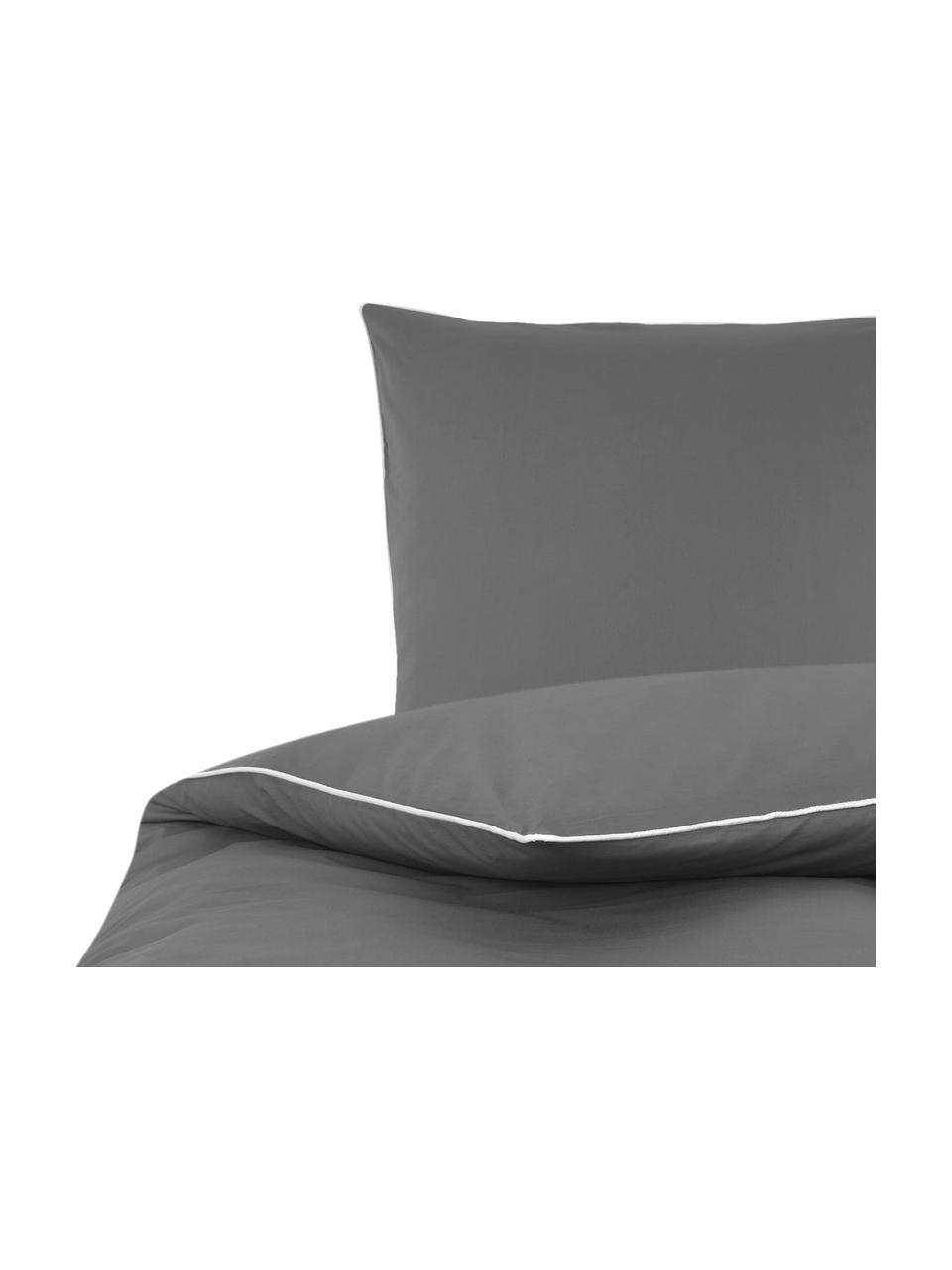 Pościel z perkalu z lamówką Daria, Ciemny szary Wykończenie brzegów: biały, 240 x 220 cm