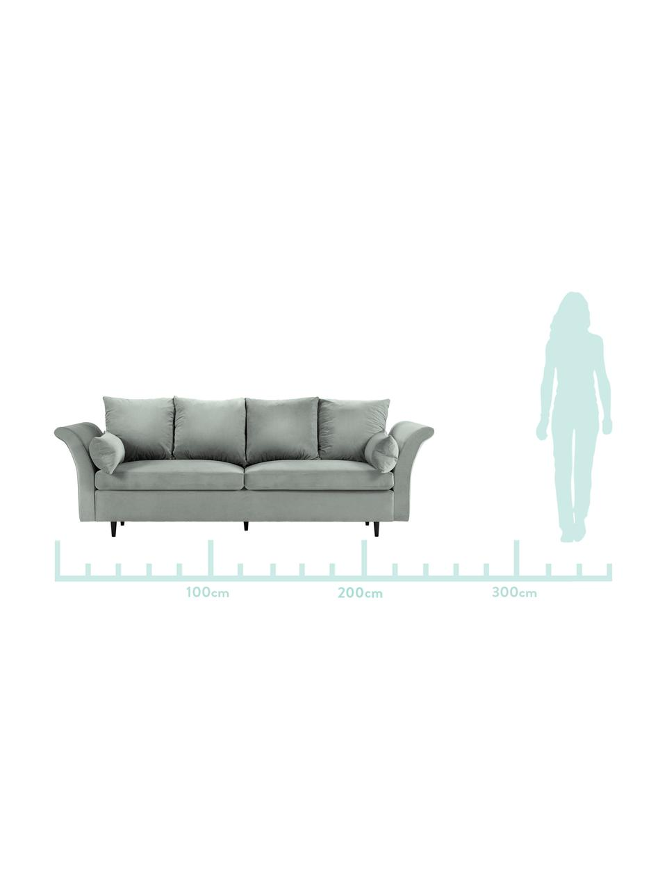 Sofa z aksamitu z funkcją spania i miejscem do przechowywania Lola (3-osobowa), Tapicerka: aksamit poliestrowy Dzięk, Nogi: drewno sosnowe, lakierowa, Jasny szary, S 245 x G 95 cm