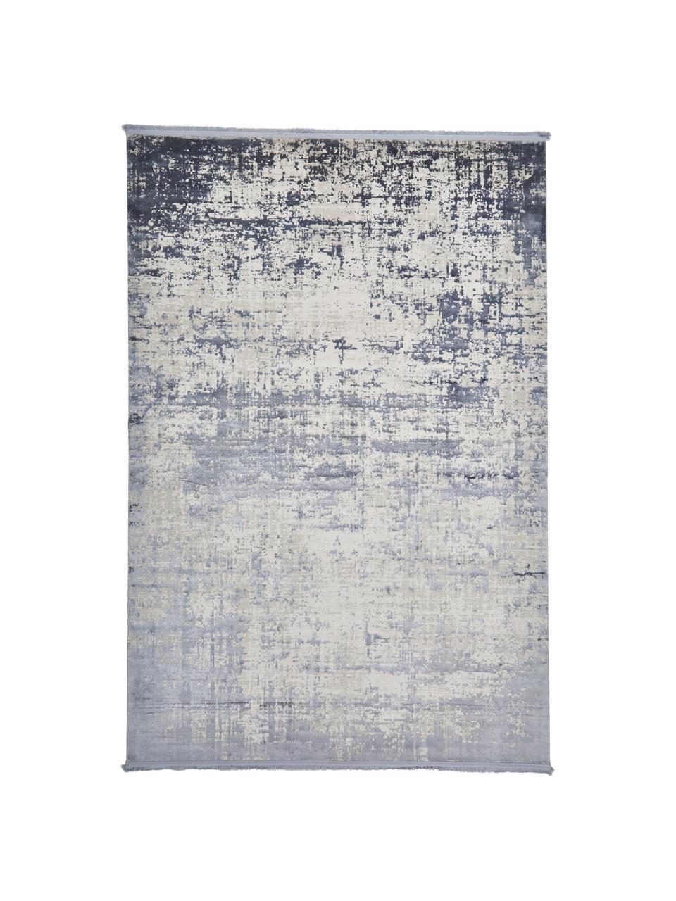 Glanzend vloerkleed Cordoba met franjes, vintage stijl, Bovenzijde: 70% acryl, 30% viscose, Onderzijde: katoen, Blauw, grijs, B 130 x L 190 cm (maat S)
