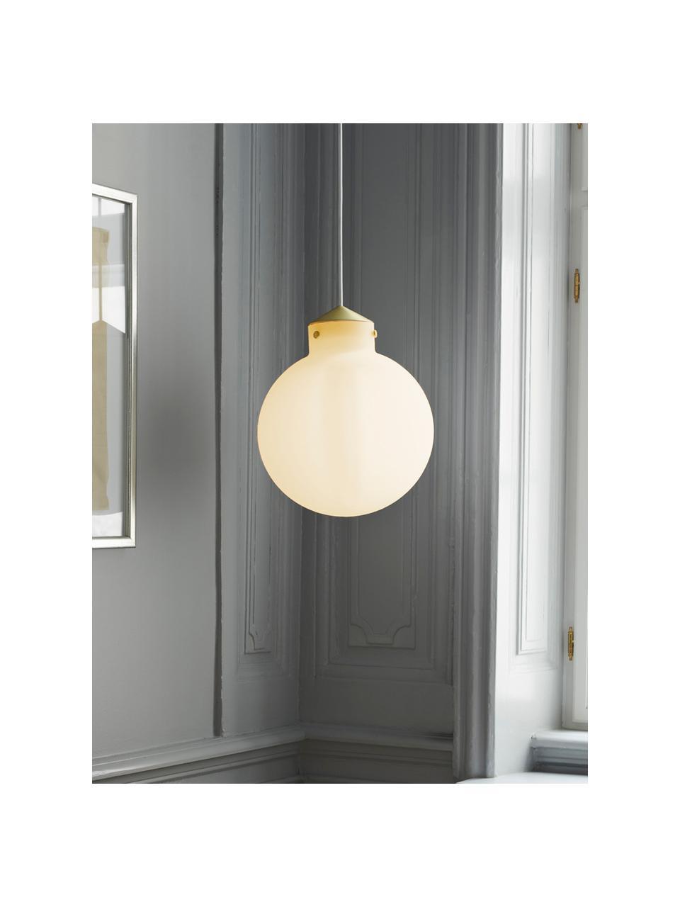 Lampada a sospensione in vetro Raito, Paralume: vetro opale, Decorazione: metallo, Baldacchino: materiale sintetico, Bianco opalino, ottone, Ø 30 x Alt. 37 cm