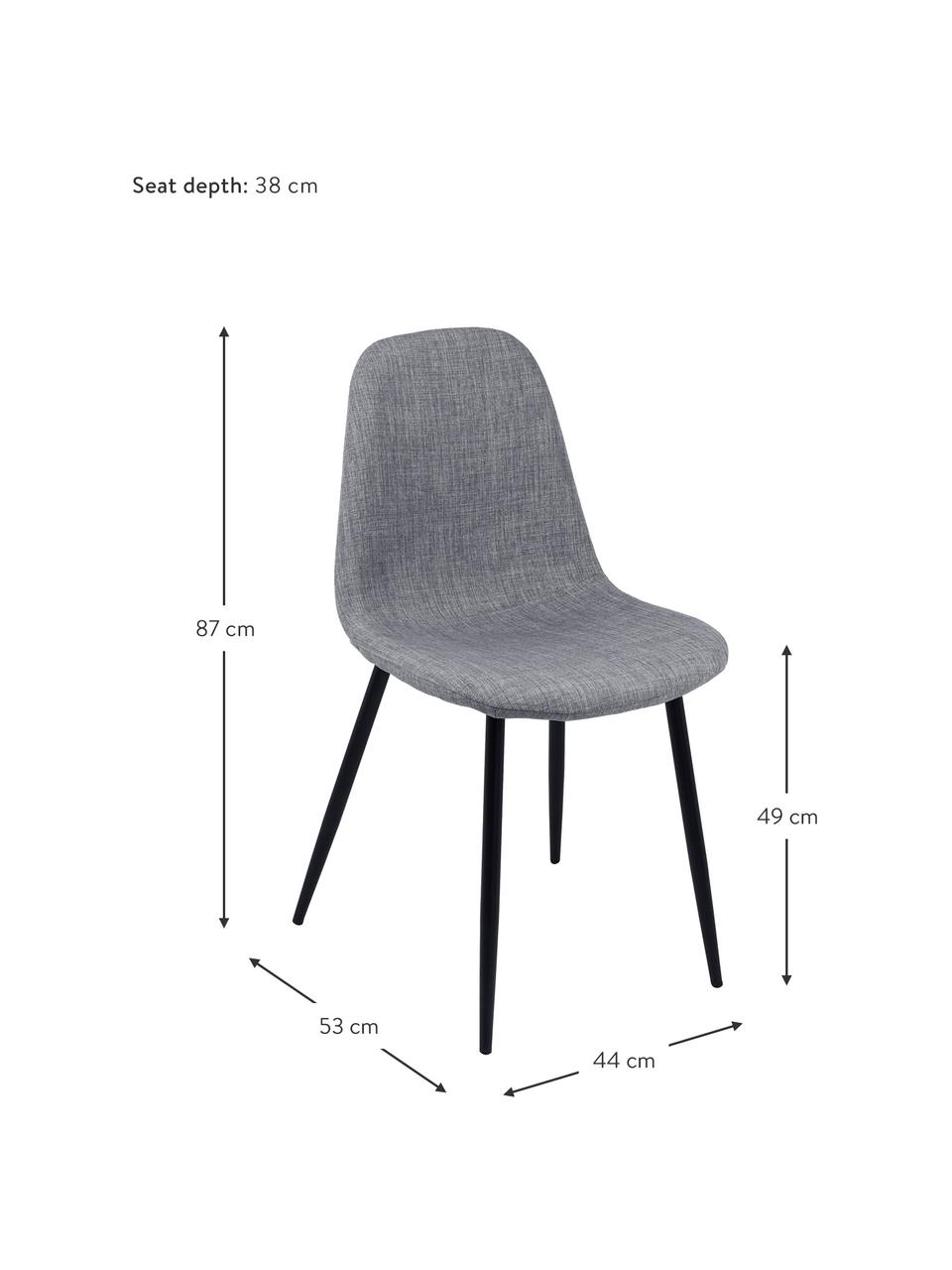 Sedia imbottita in tessuto grigio Karla 2 pz, Rivestimento: 100% poliestere, Piedini: metallo, Tessuto grigio chiaro, Larg. 44 x Prof. 53 cm