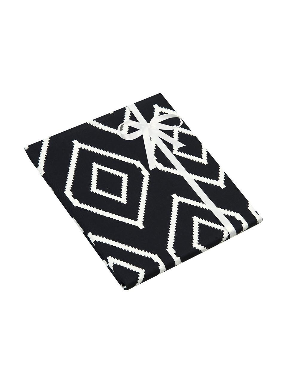 Federa arredo color nero/bianco Gracie, 100% cotone, tessuto panama, Nero, crema, Larg. 40 x Lung. 40 cm