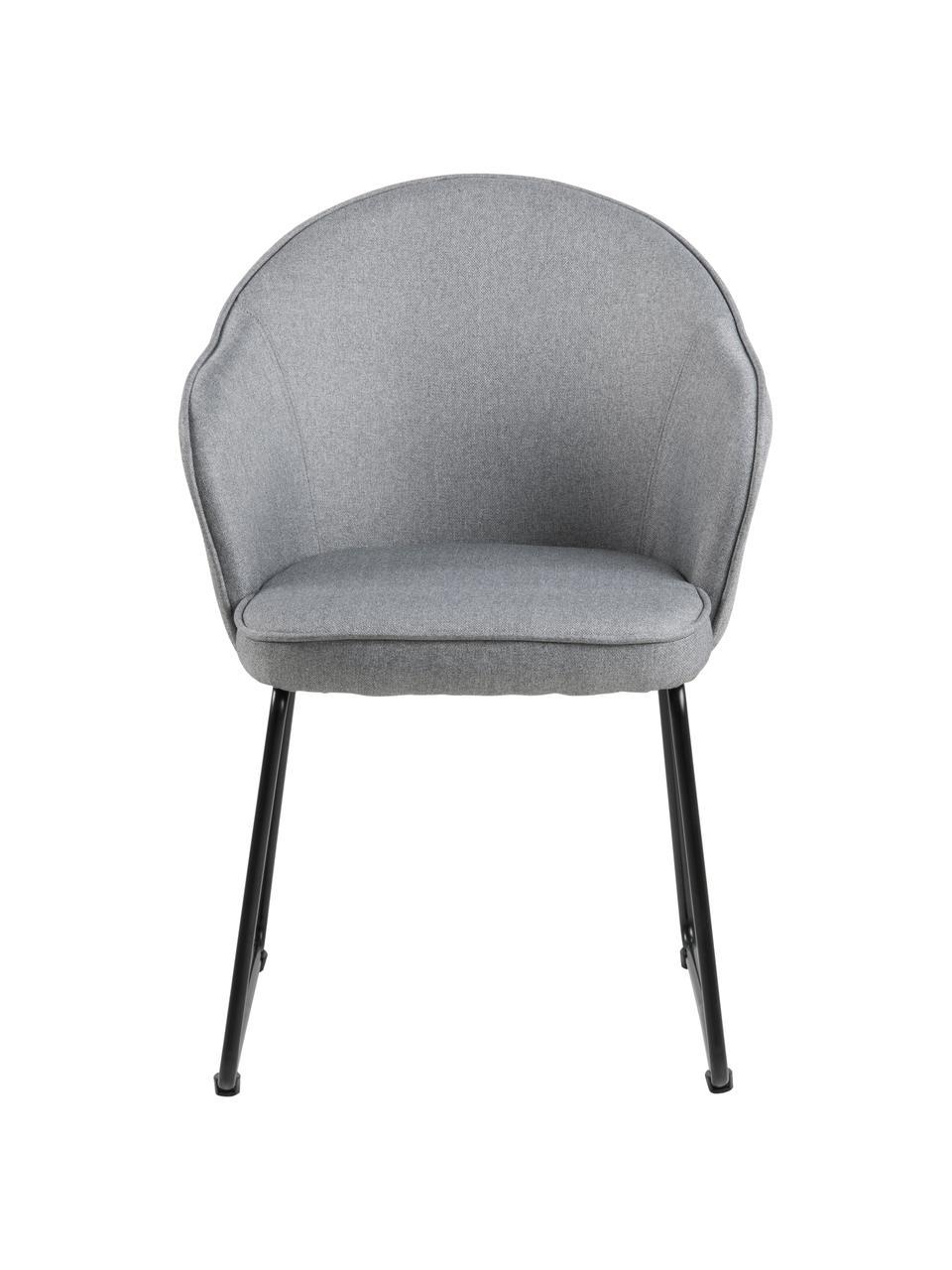 Krzesło z podłokietnikami Mitzie, Tapicerka: poliester Dzięki tkaninie, Nogi: metal lakierowany, Jasny szary, nogi: czarny, S 57 x G 59 cm